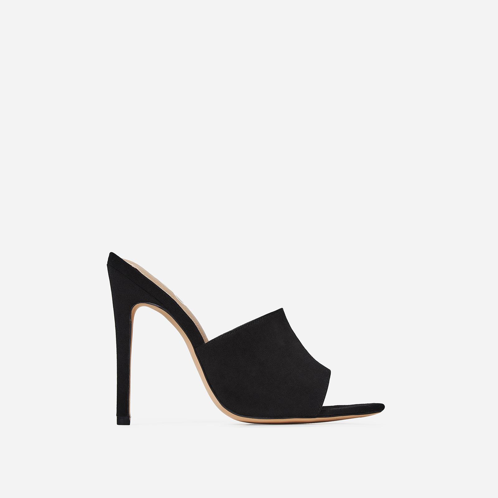 Briana Peep Toe Mule In Black Canvas