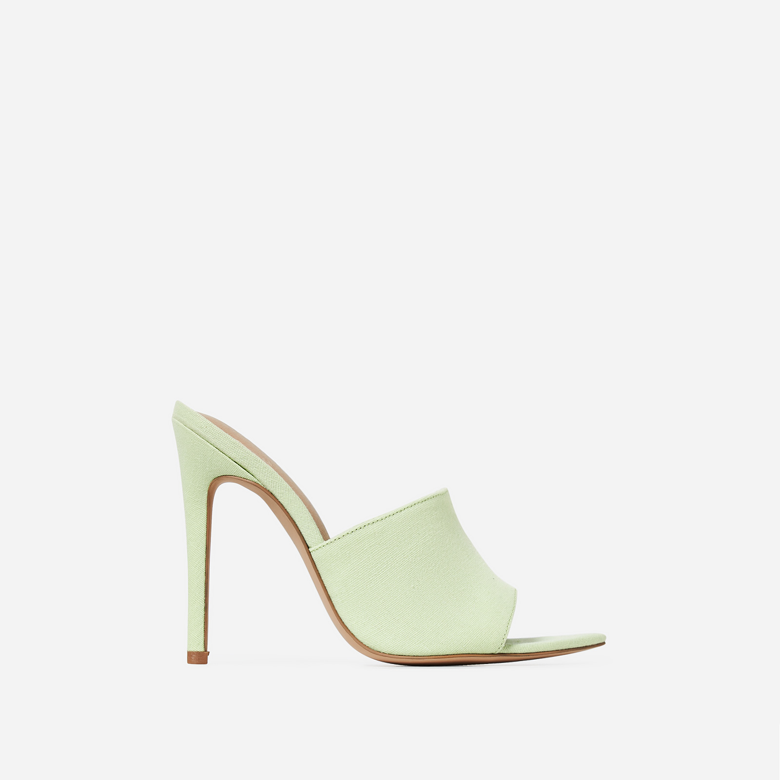 Briana Peep Toe Mule In Green Canvas