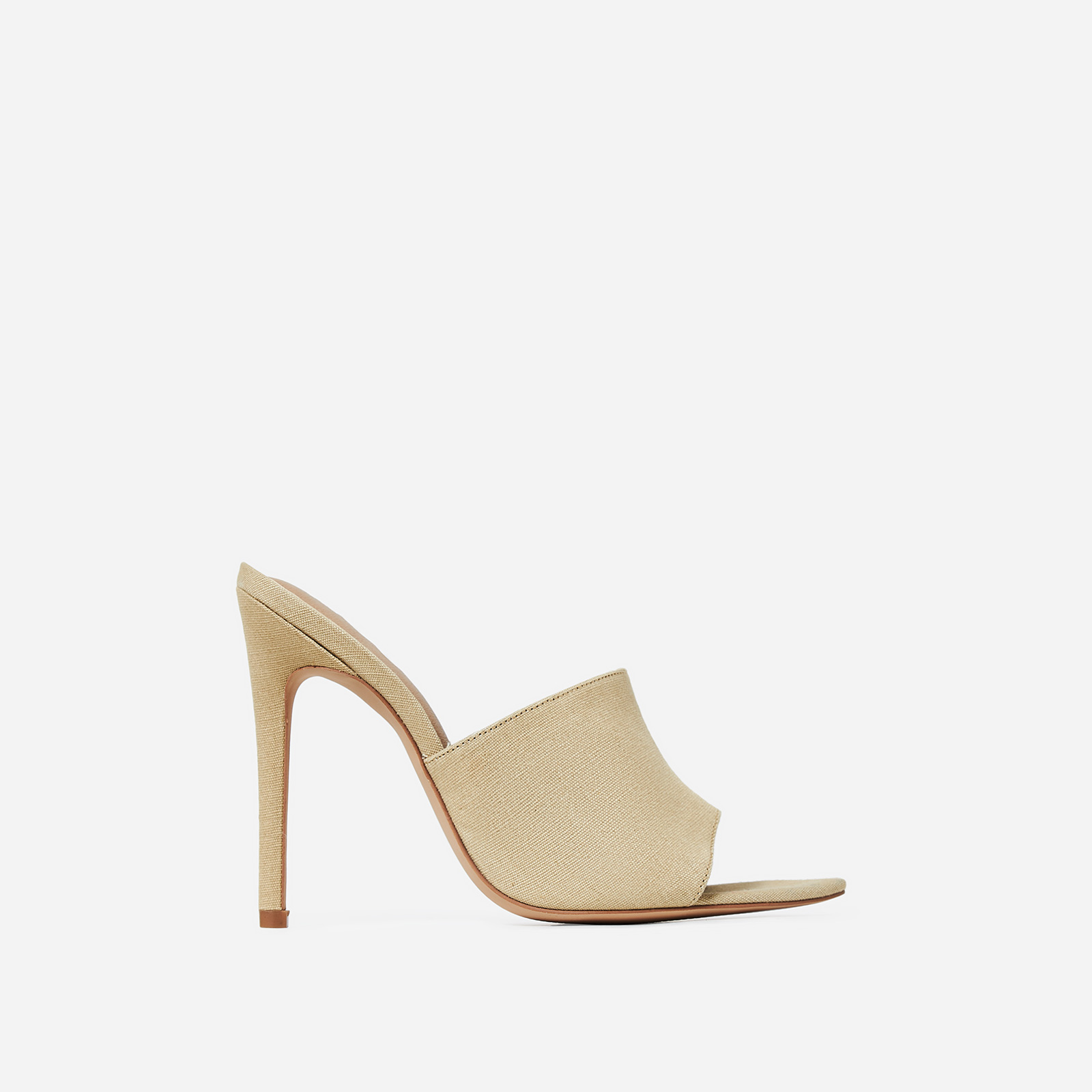 Briana Peep Toe Mule In Nude Canvas