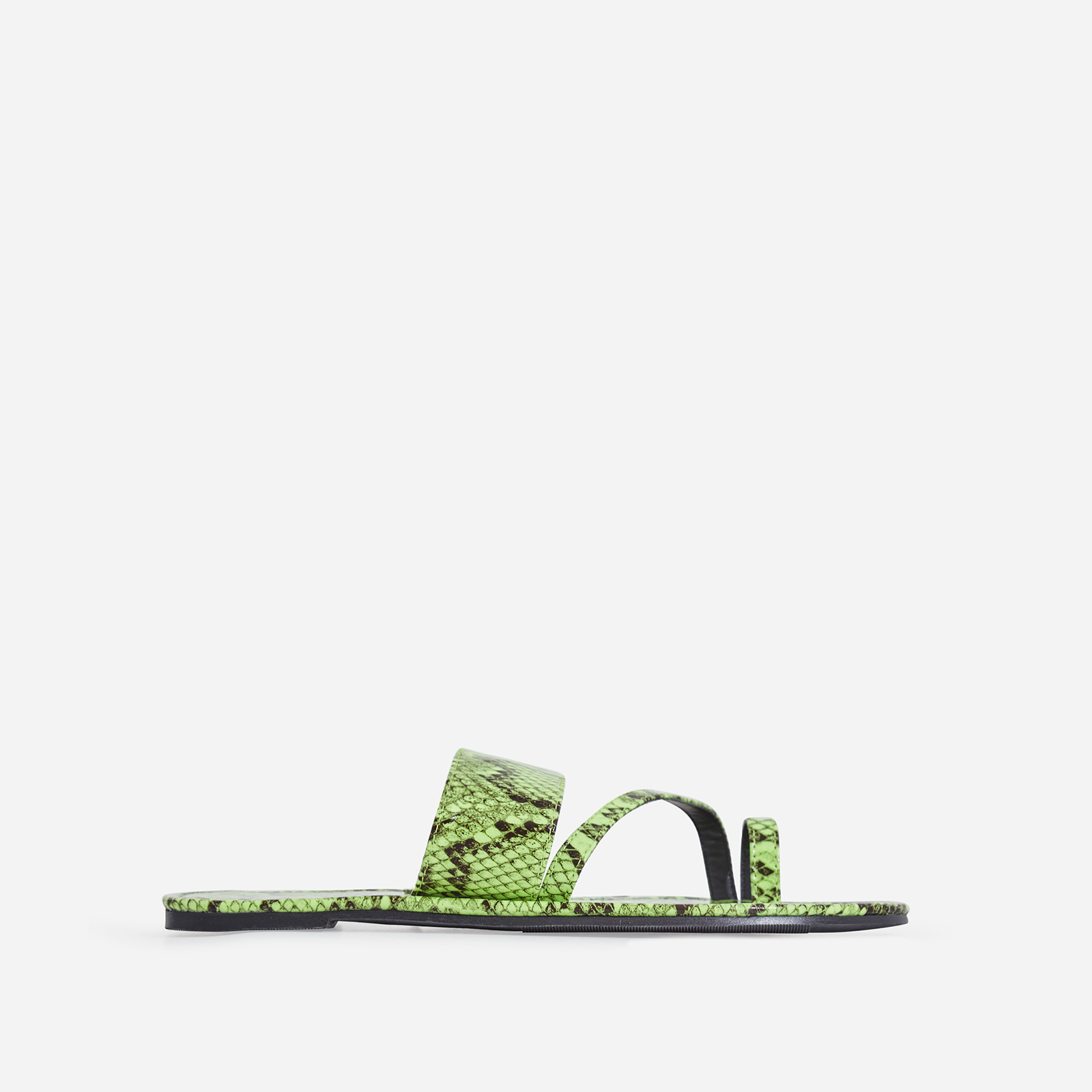 Brock Toe Strap Slider In Lime Green Snake Print Faux Leather