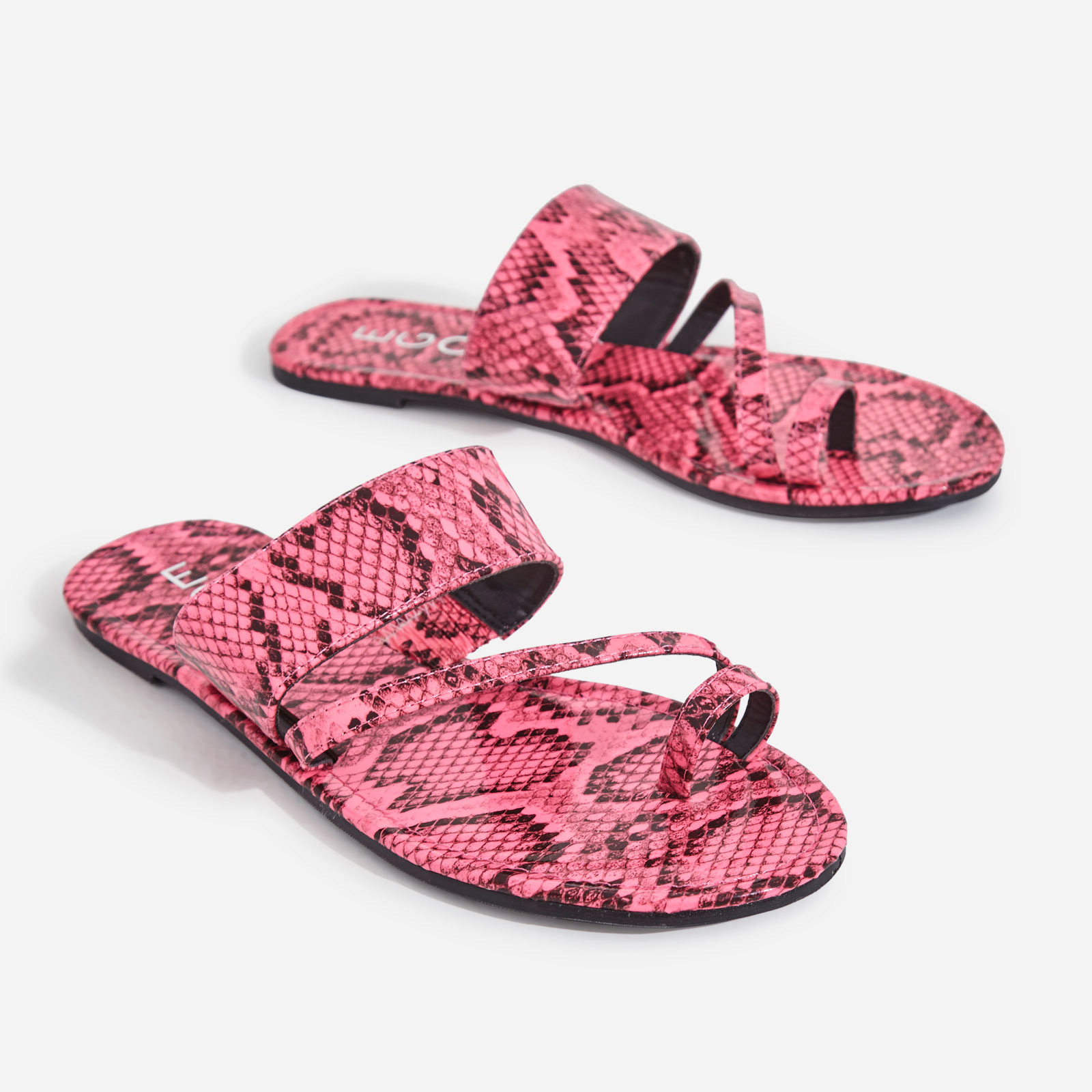Brock Toe Strap Slider In Pink Snake Print Faux Leather