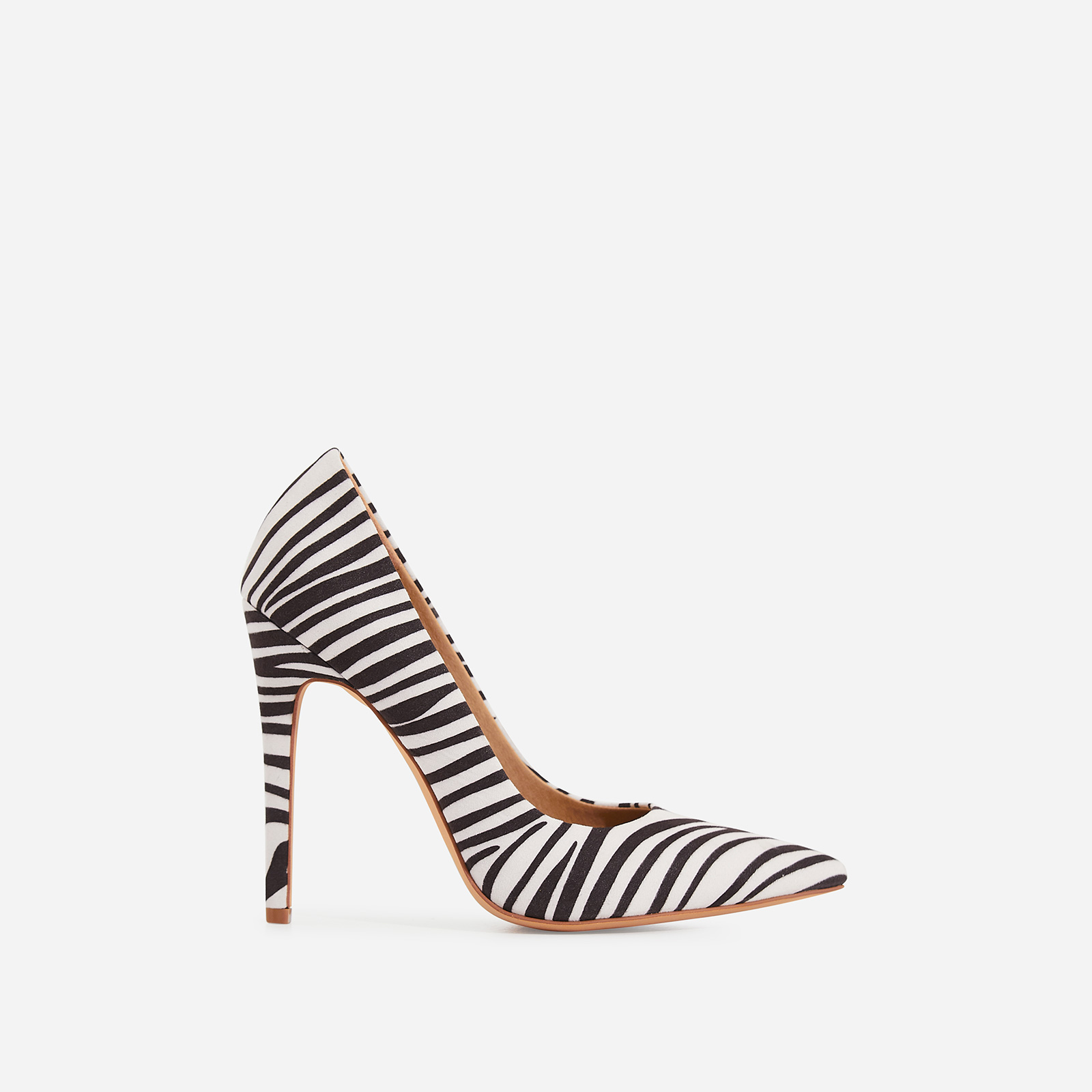 Bronte Court Heel In Zebra Print Faux Suede