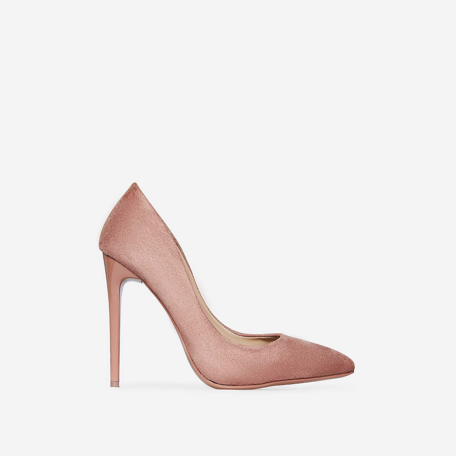 Bronte Court Heel In Pink Faux Suede