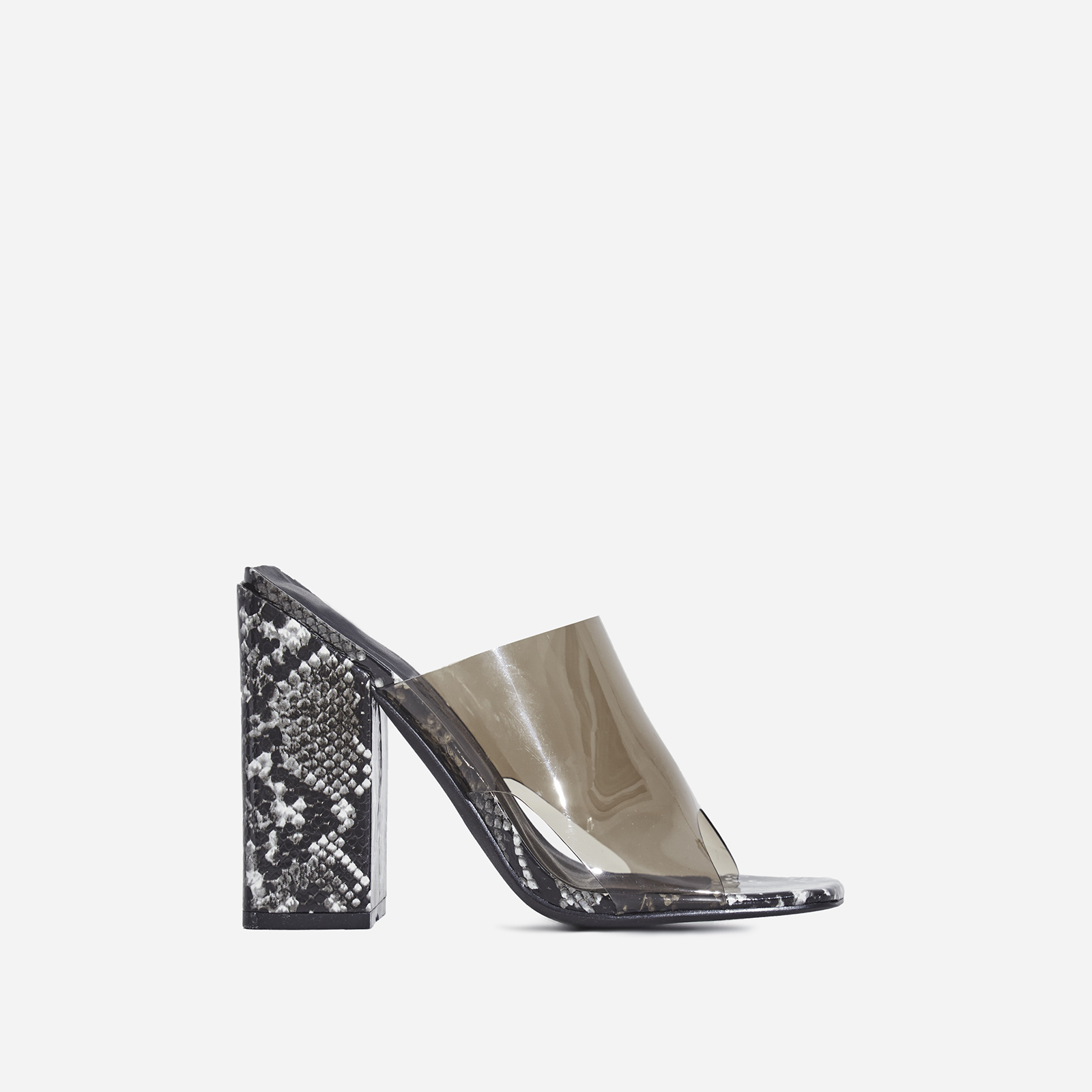 Brooke Block Heel Perspex Peep Toe Mule In Black Snake Print Faux Leather