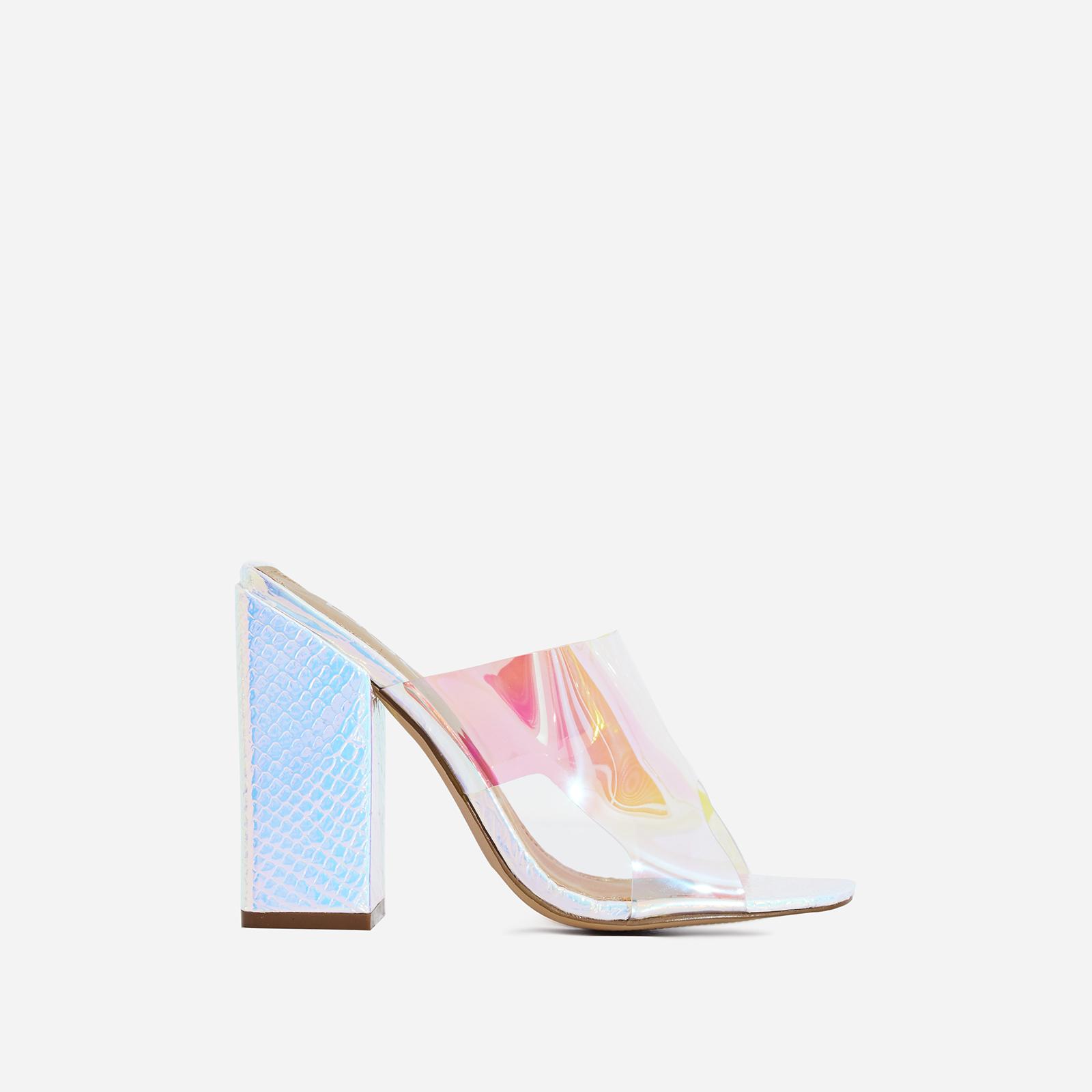 Brooke Block Heel Perspex Peep Toe Mule In Silver Croc Print Faux Leather