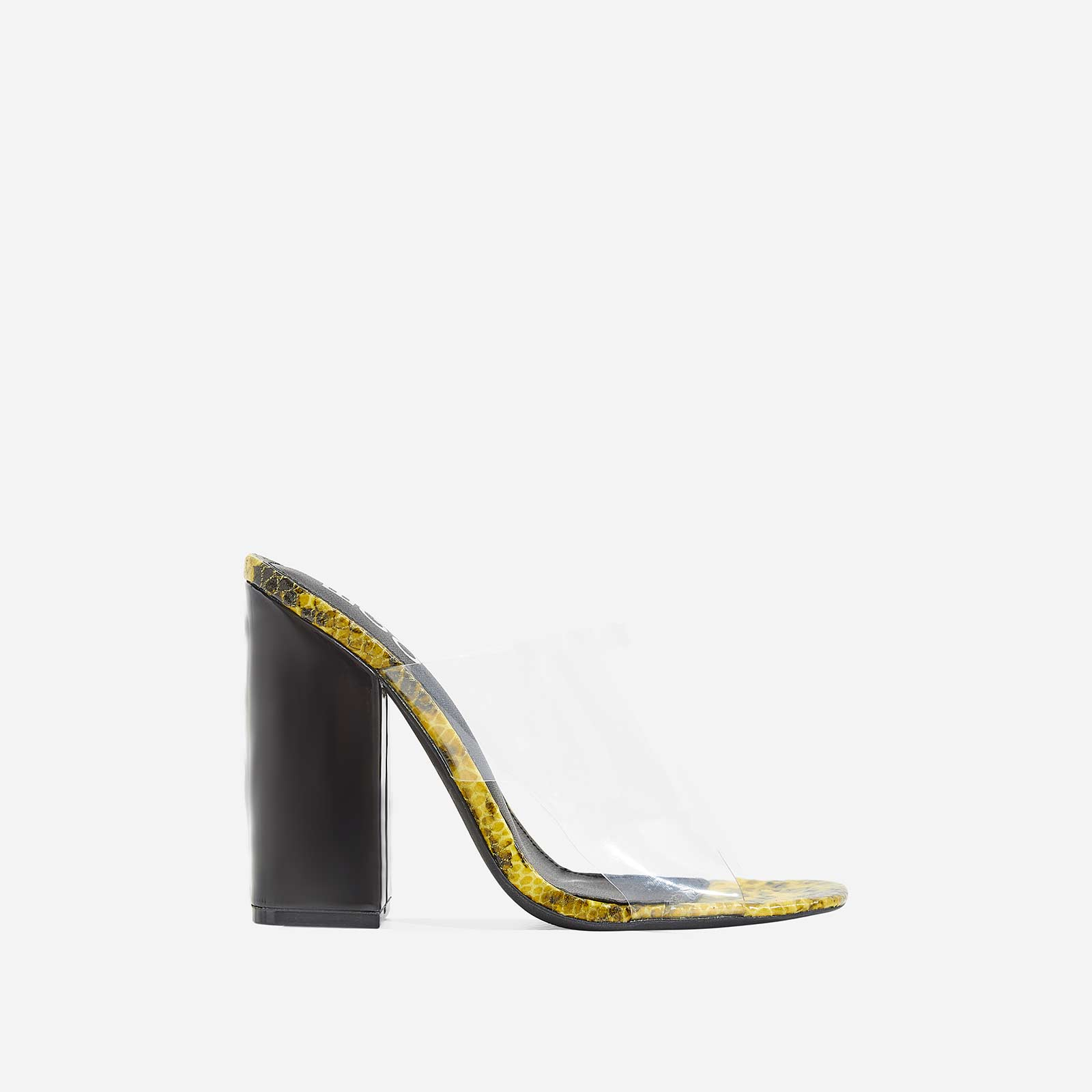Brooke Patent Block Heel Perspex Peep Toe Mule In Yellow Snake Print Faux Leather
