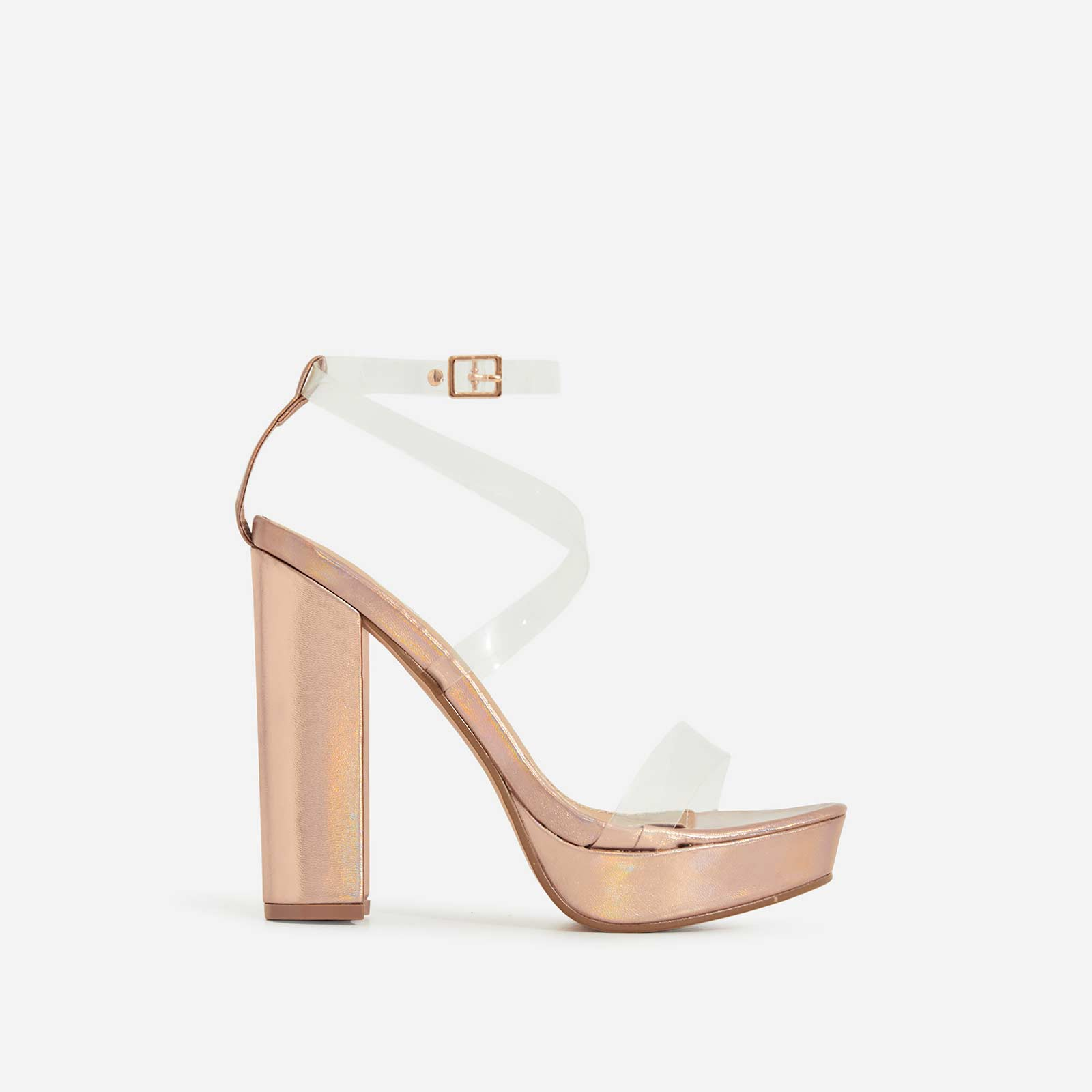 Bumble Clear Perspex Platform Block Heel In Rose Gold Faux Leather