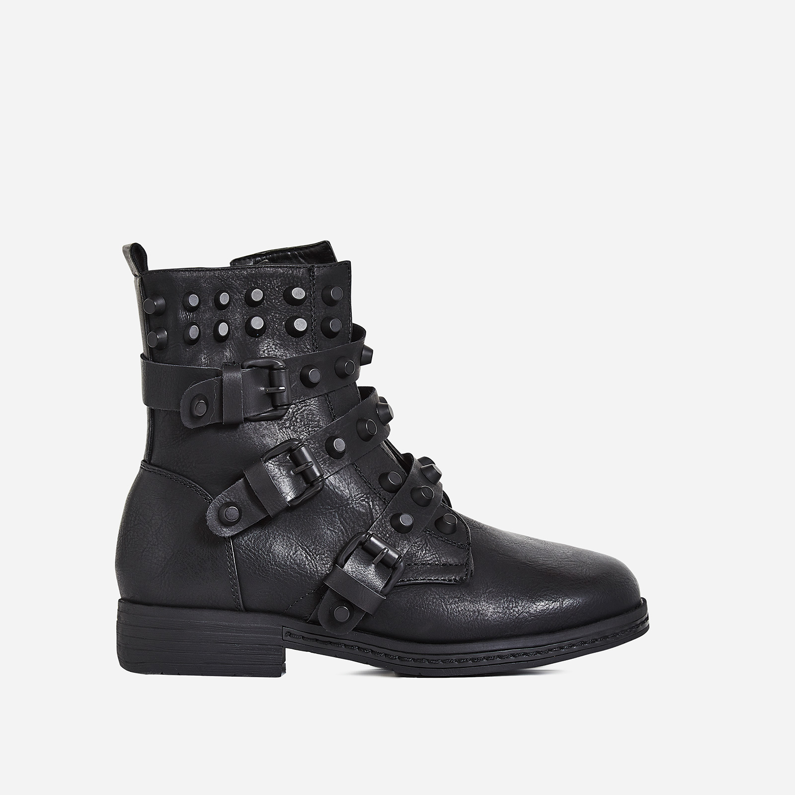 Marc Studded Buckle Detail Ankle Biker Boot In Black Faux Leather