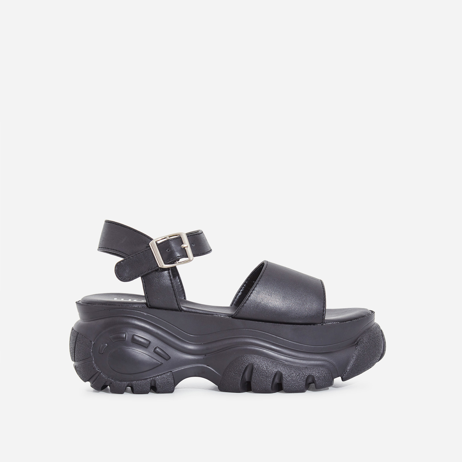 Cade Chunky Sole Sandal In Black Faux Leather