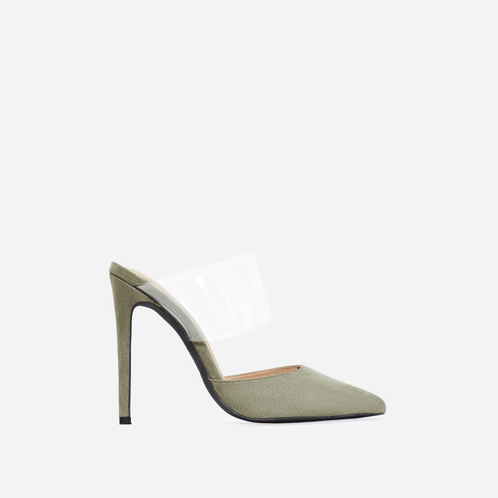 Caillin Perspex Mule In Khaki Faux Suede