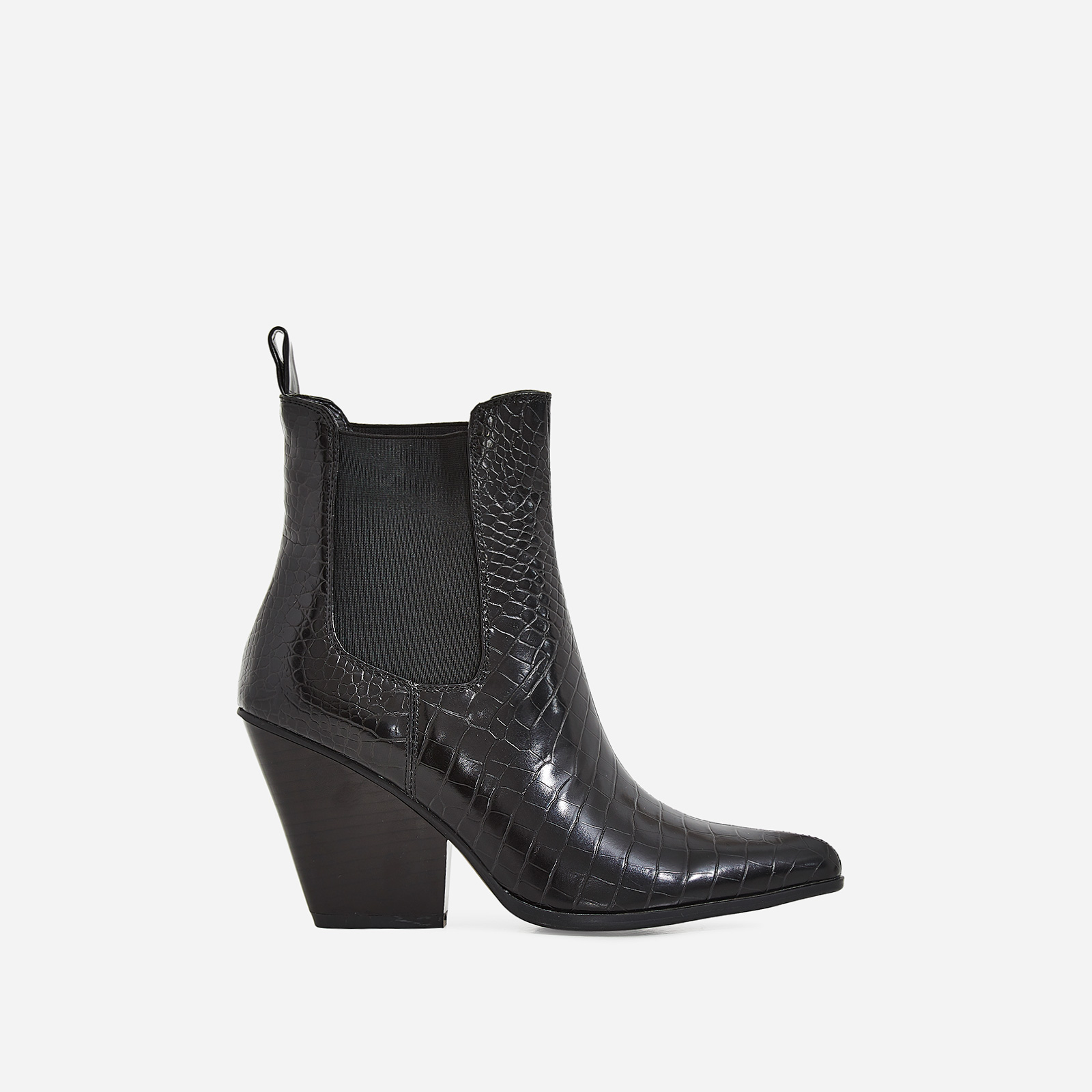 Camille Western Ankle Boot In Black Croc Print Faux Leather