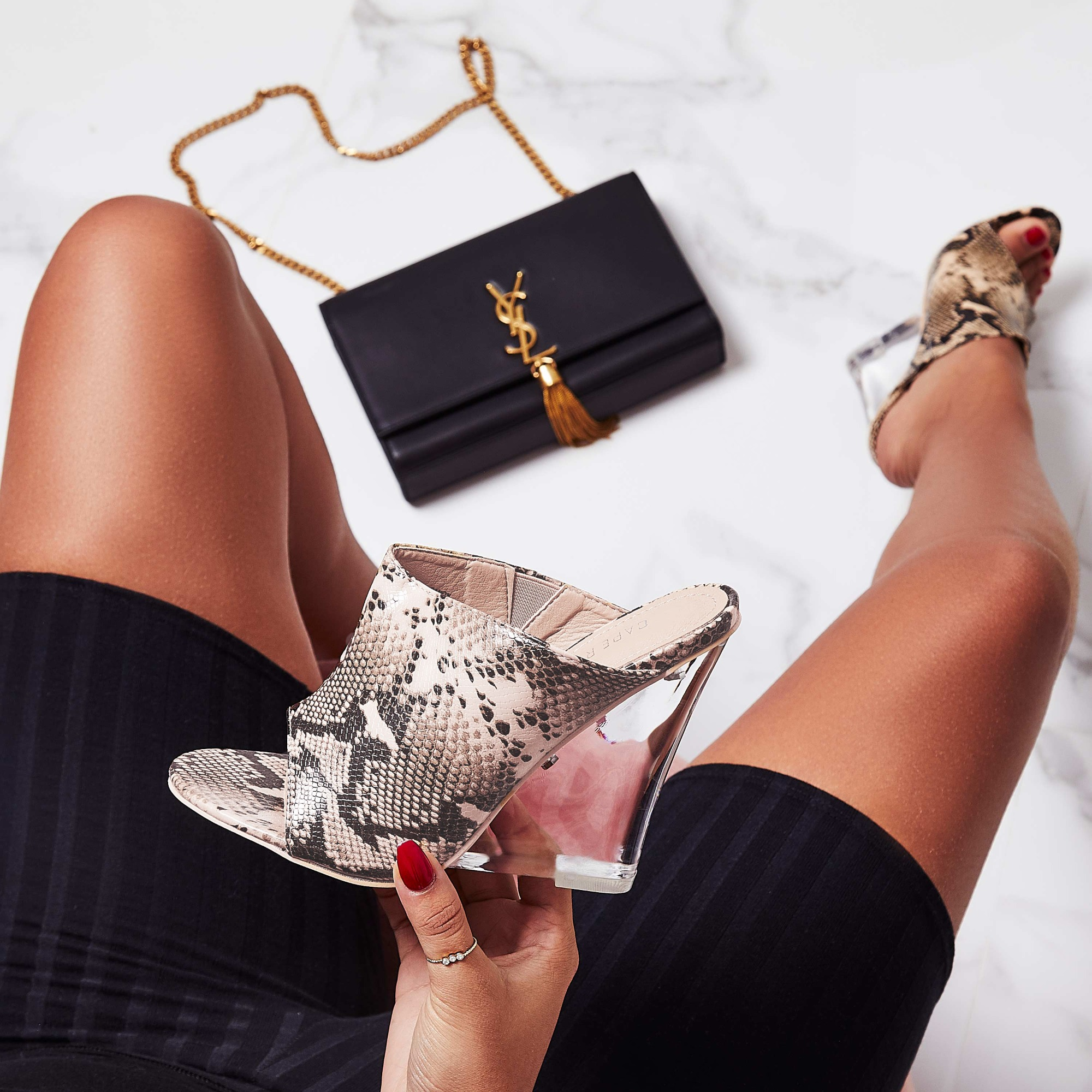 Candy Perspex Wedge Mule In Nude Snake Print Faux Leather