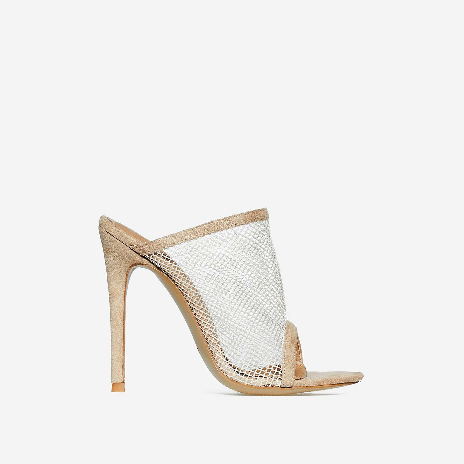 Cardi Fishnet Peep Toe Mule In Nude Faux Suede