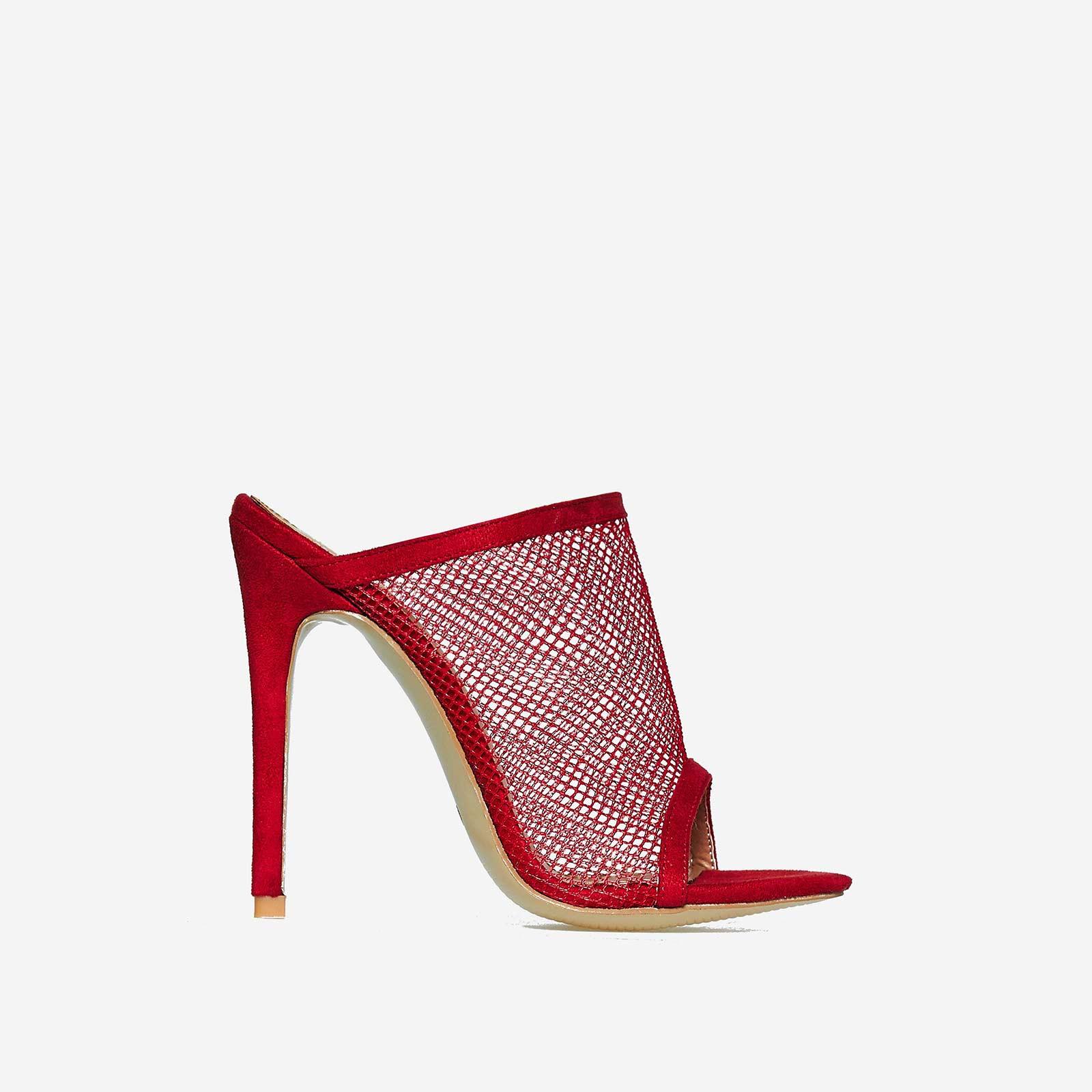 Cardi Fishnet Peep Toe Mule In Red Faux Suede