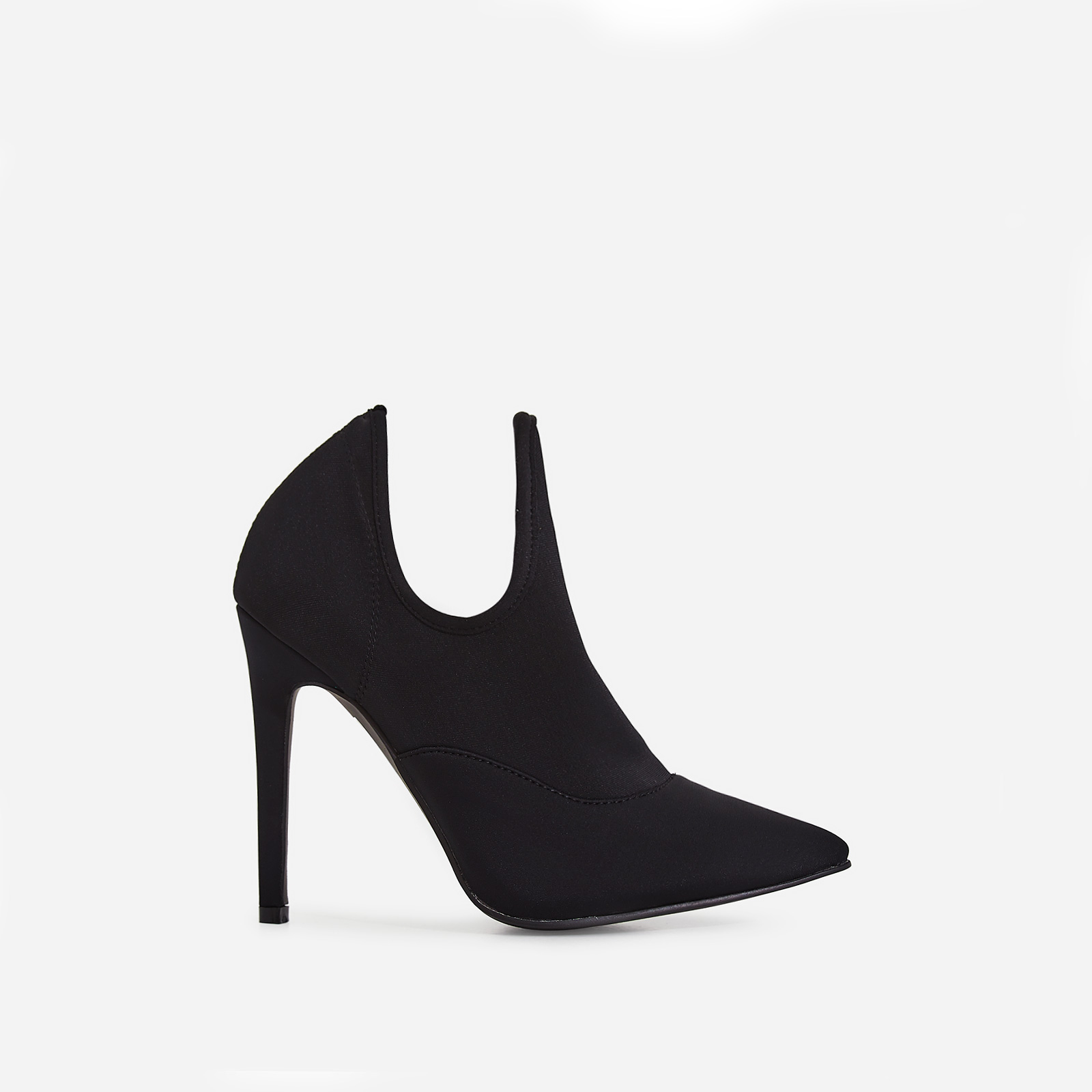 Caris Pointed Toe Ankle Boot In Black Lycra