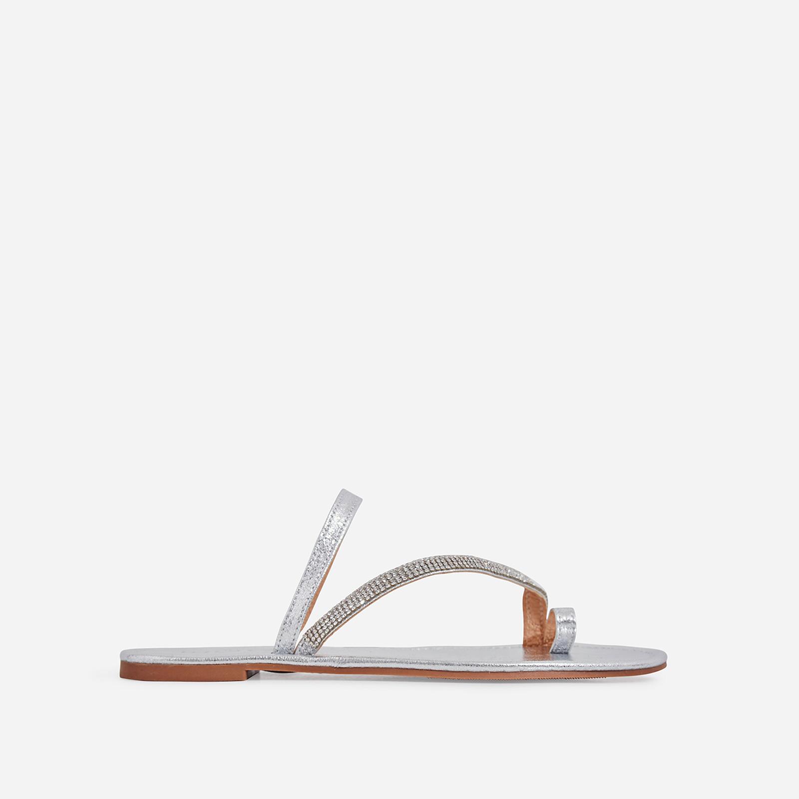 Casta Diamante Detail Toe Strap Slider In Silver Faux Leather