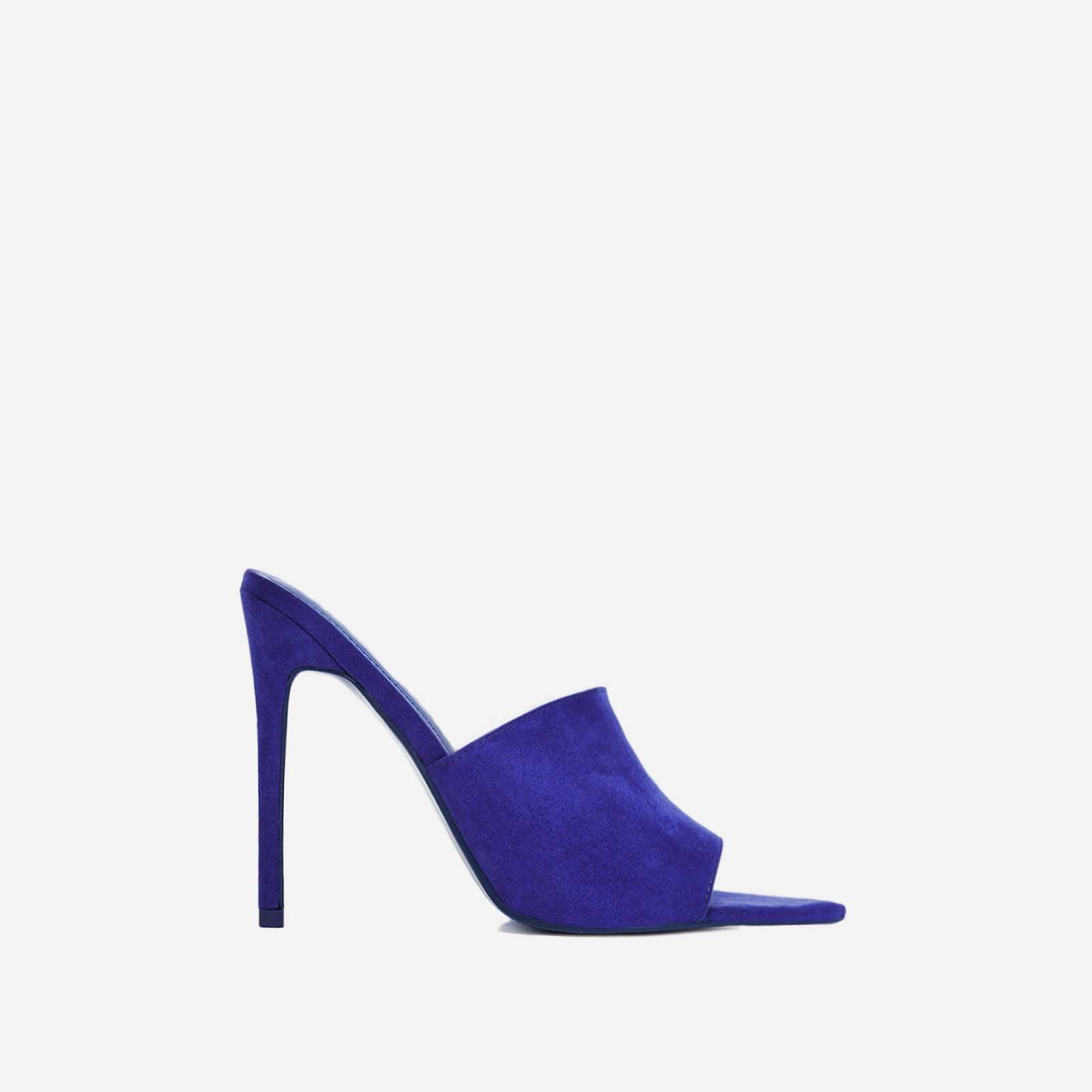 Cece Pointed Peep Toe Mule In Blue Faux Suede