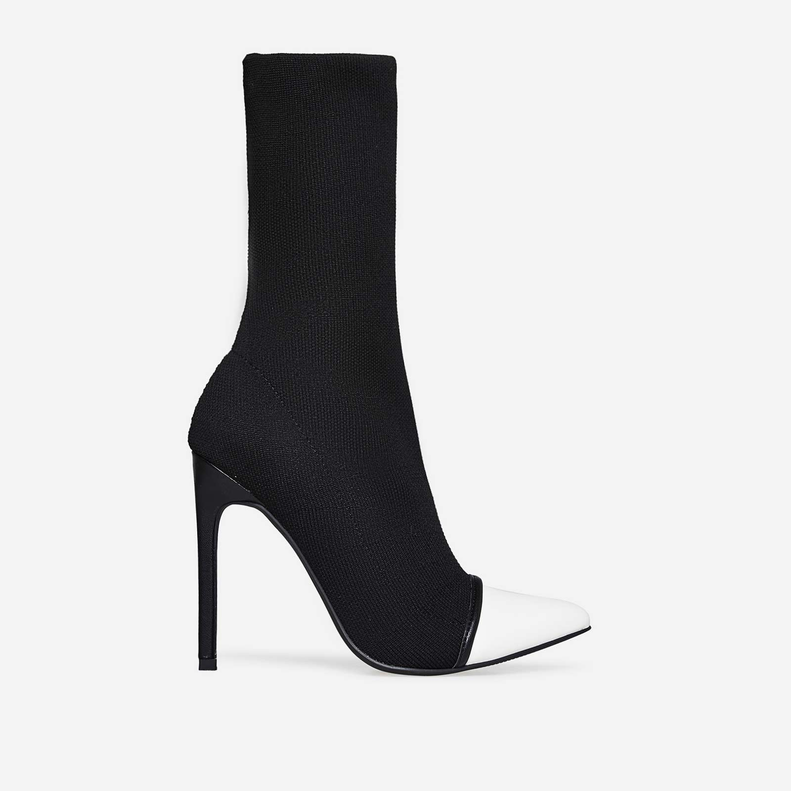 Celsa Two Tone Pointed Toe Sock Boot In Black Knit