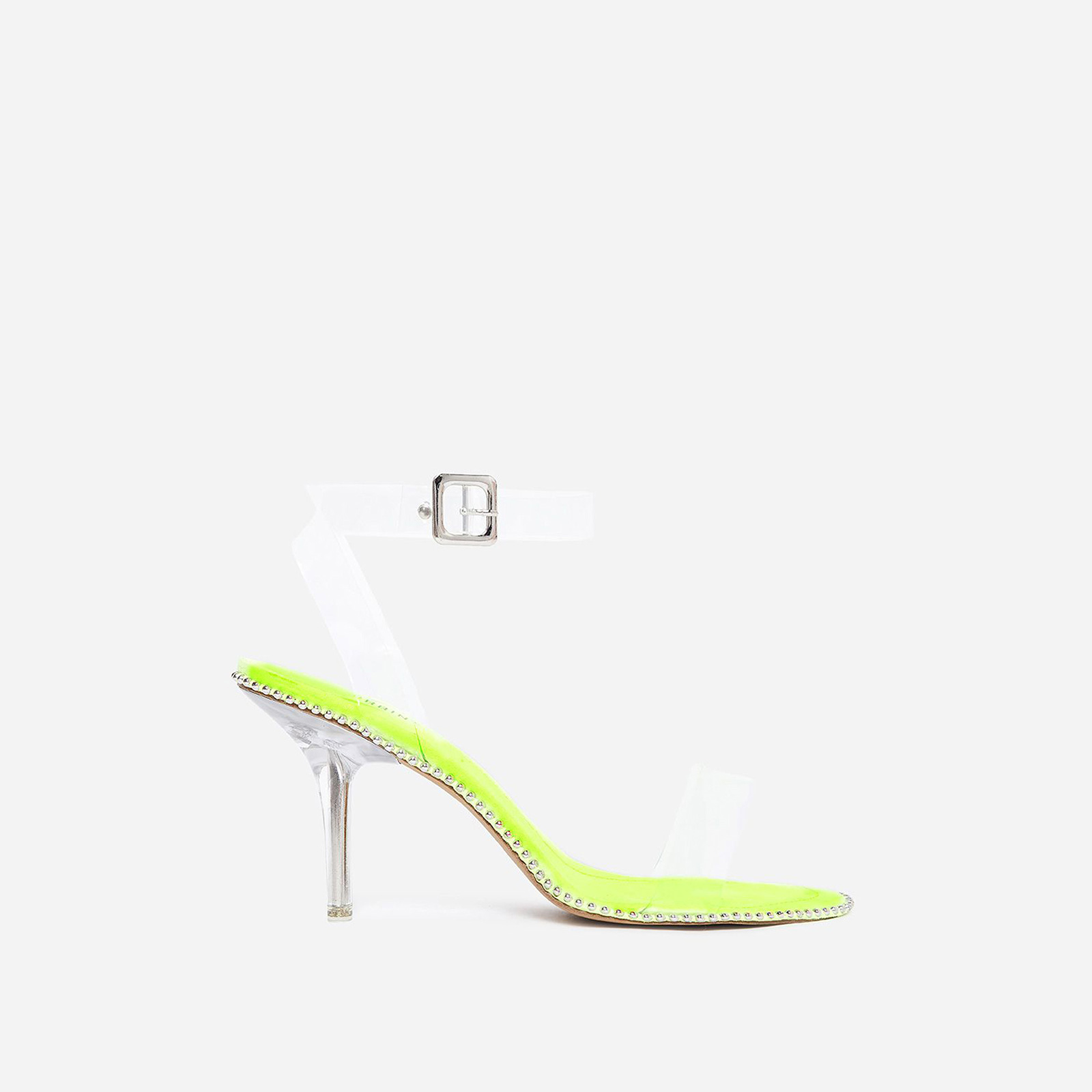 Charmed Studded Detail Barely There Perspex Heel In Lime Green Faux Suede