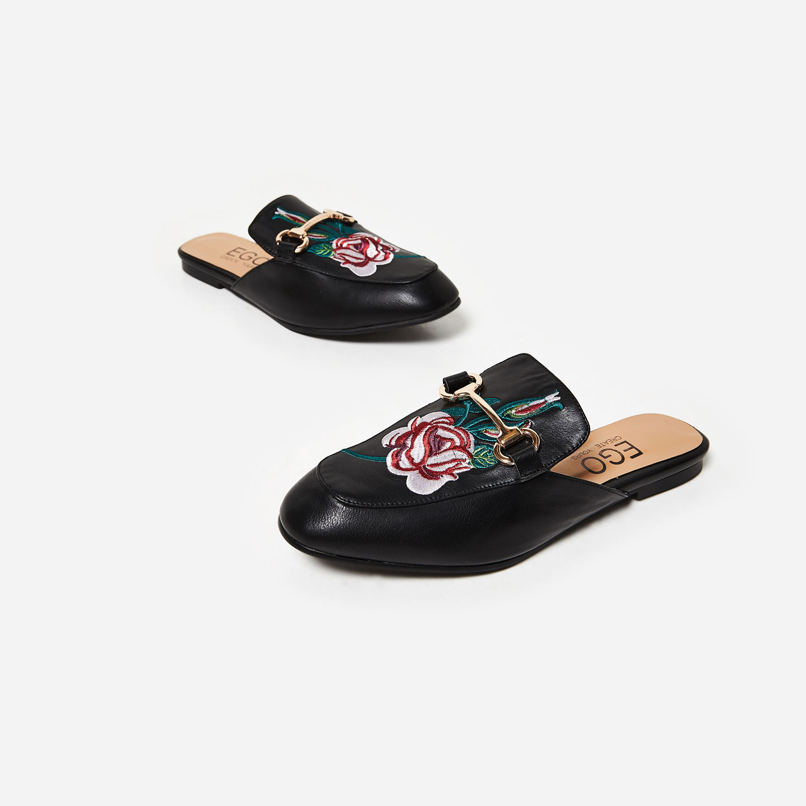 Cheska Floral Embroidered Flat Mule In Black Faux Leather Image 1