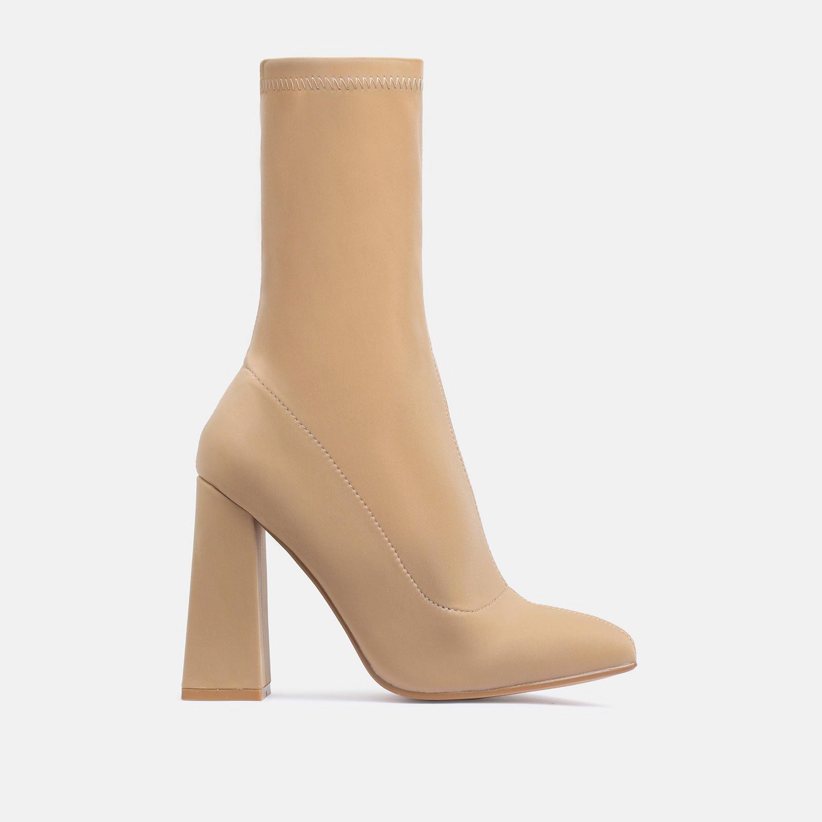Chesta Block Heel Ankle Boot In Nude Lycra