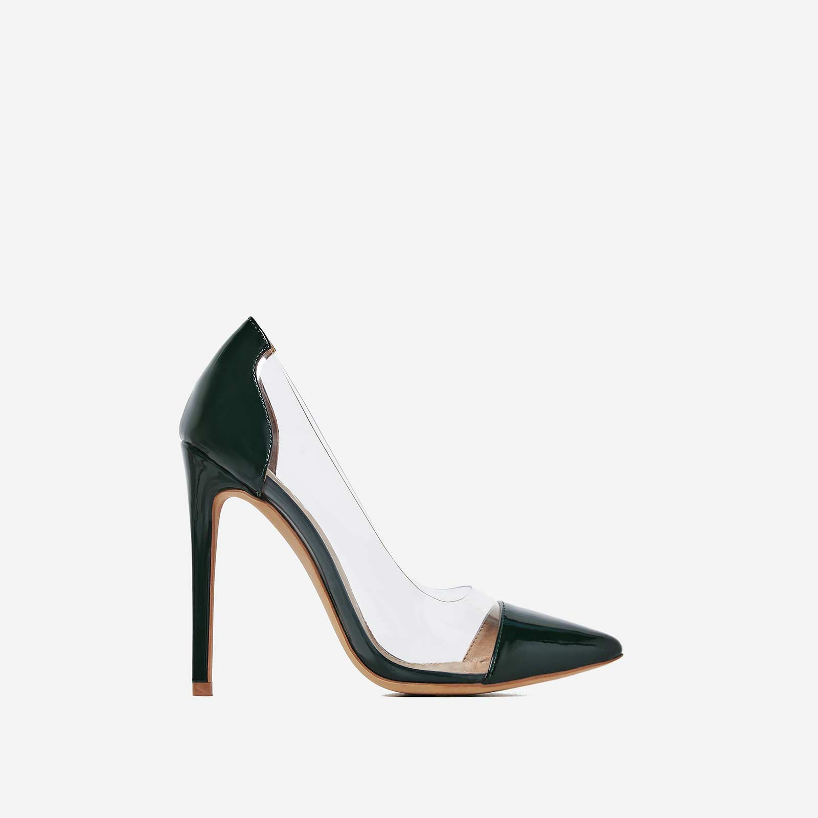 67e874b65444 Cici Perspex Court Heel In Green Patent