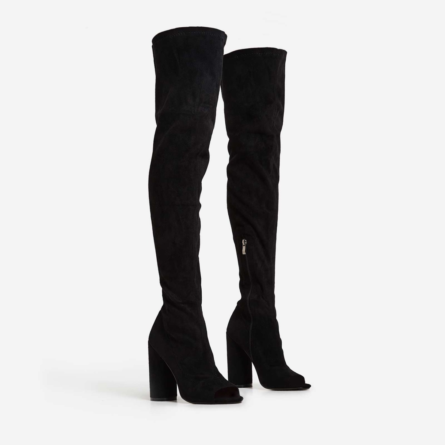 Cindy Thigh High Peep Toe Boots In Black Lycra Image 1