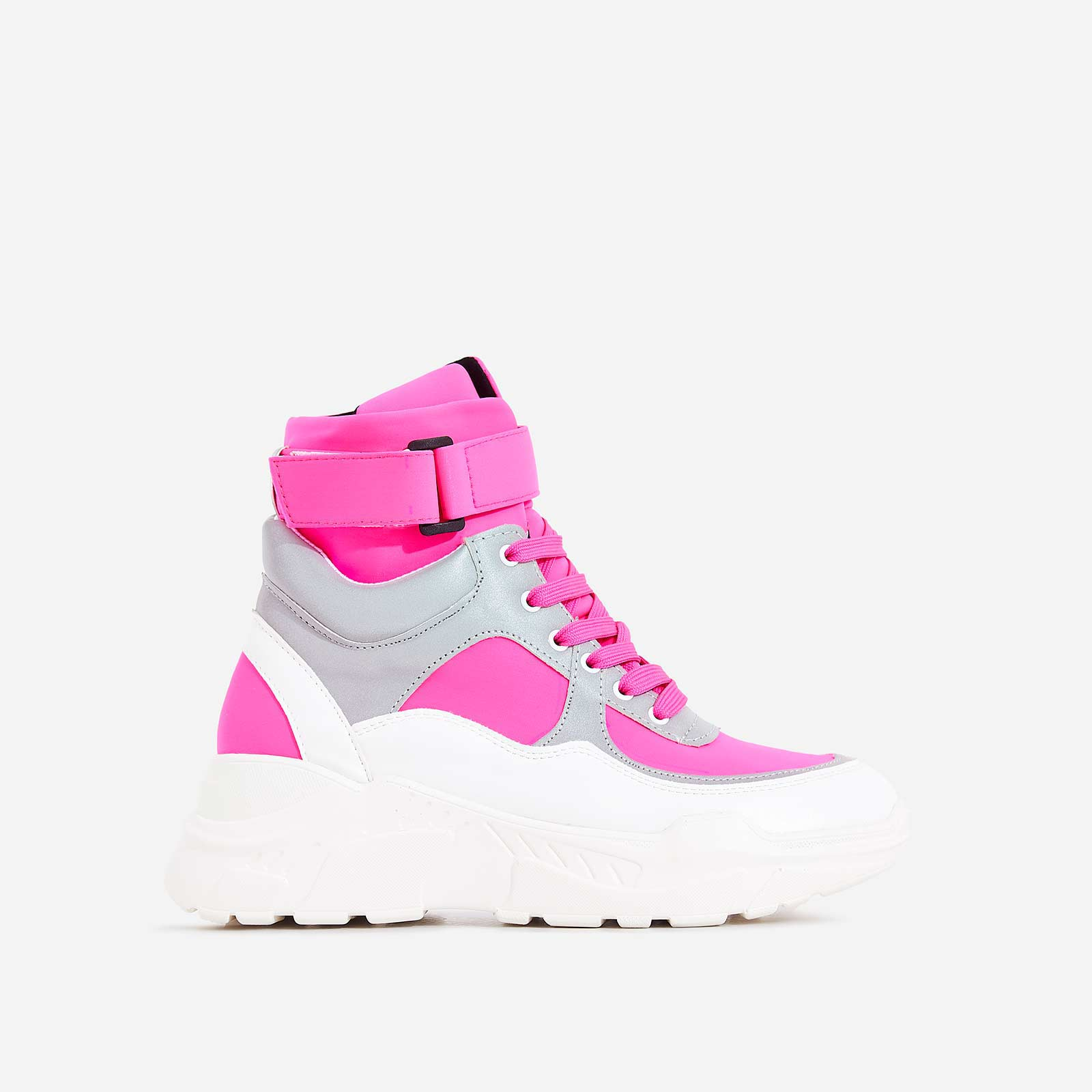 Coco High Top Reflective Trainer In Pink