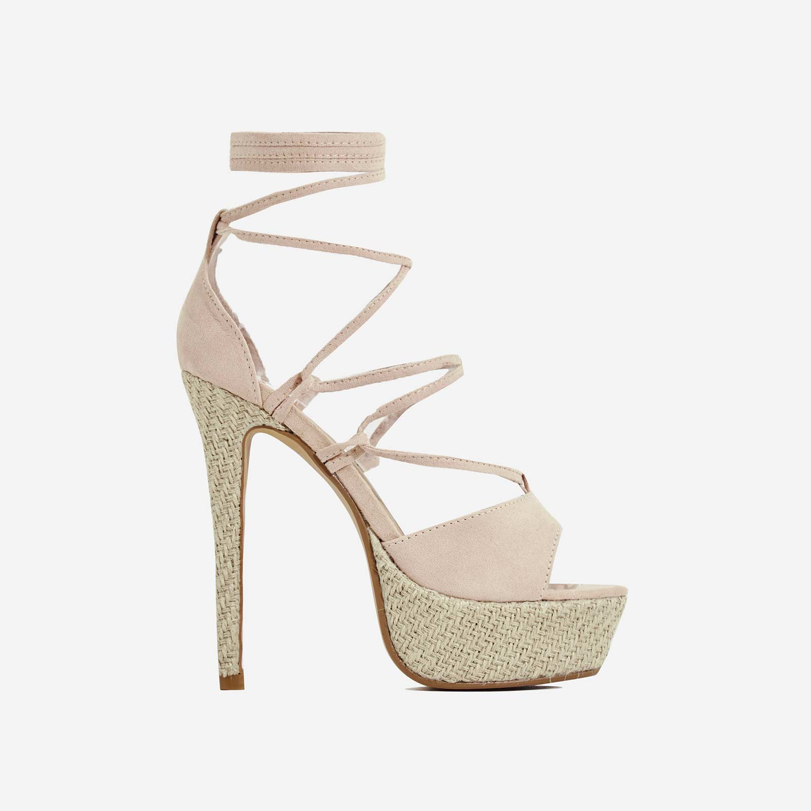 Coconut Espadrille Lace Up Platform Heel In Nude Faux Suede