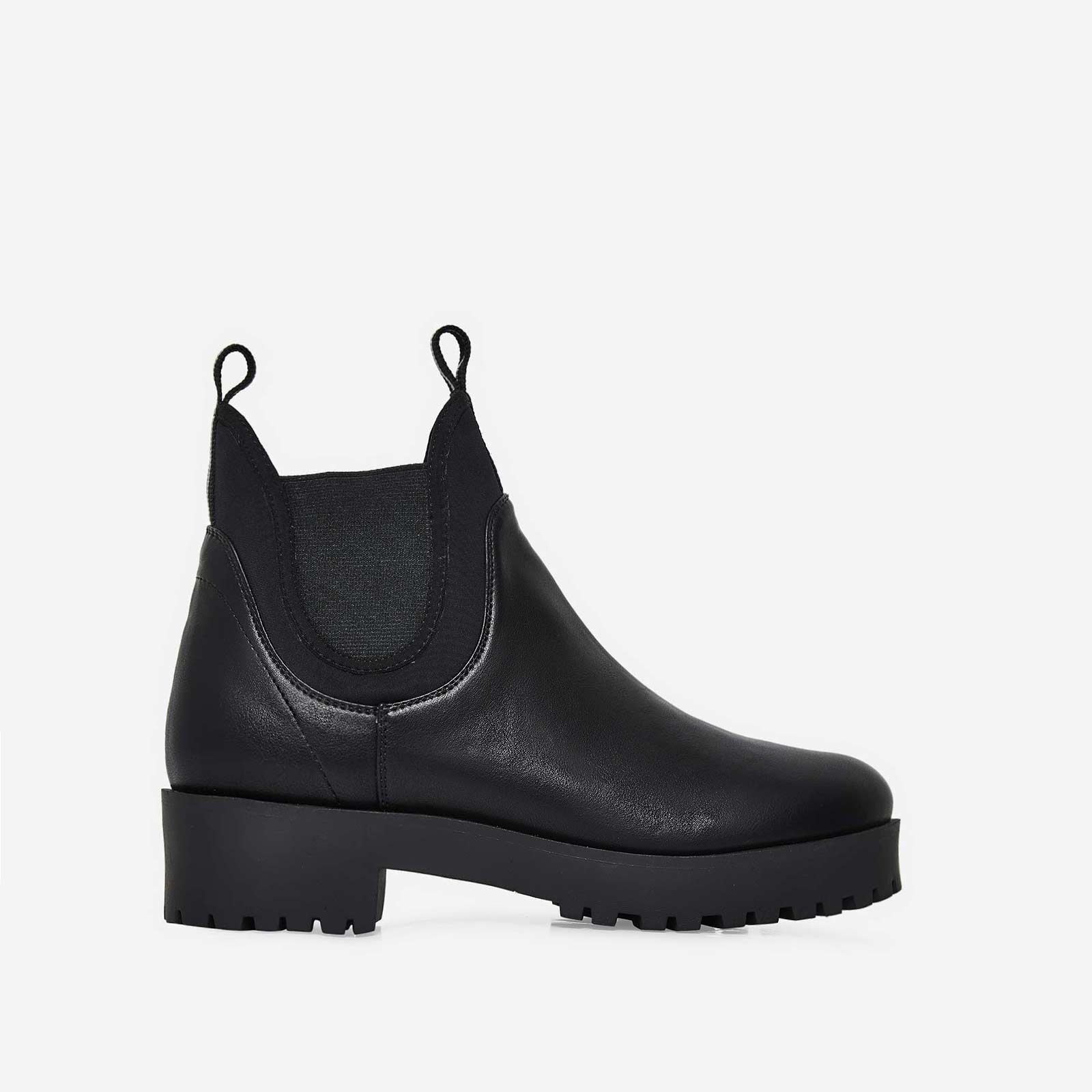 Cody Black Lycra Trim Ankle Boot In Black Faux Leather