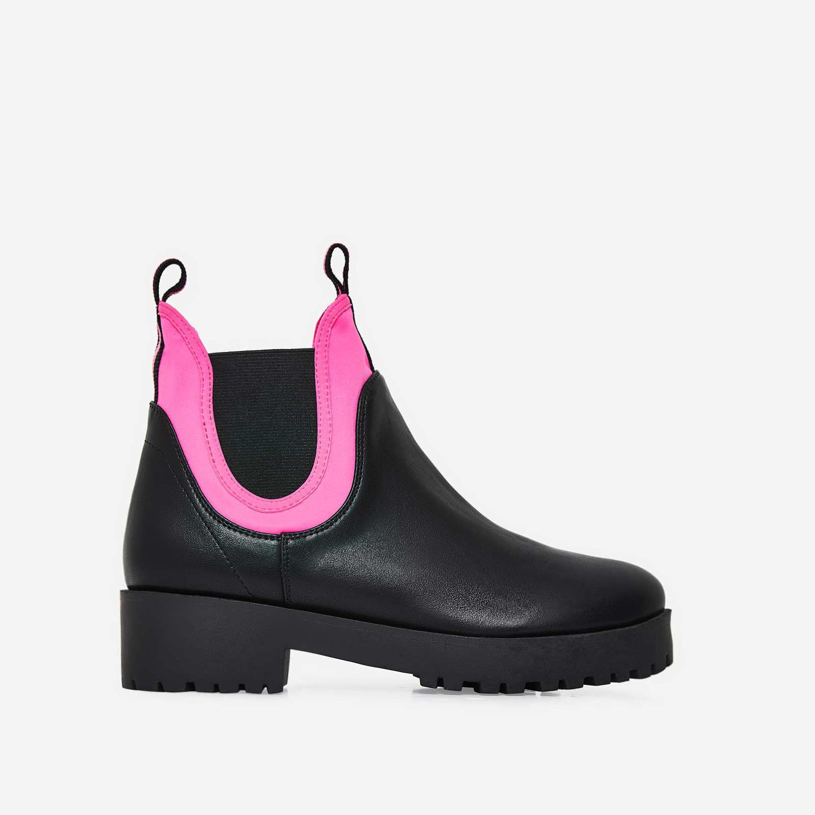 Cody Neon Pink Lycra Trim Ankle Boot In Black Faux Leather