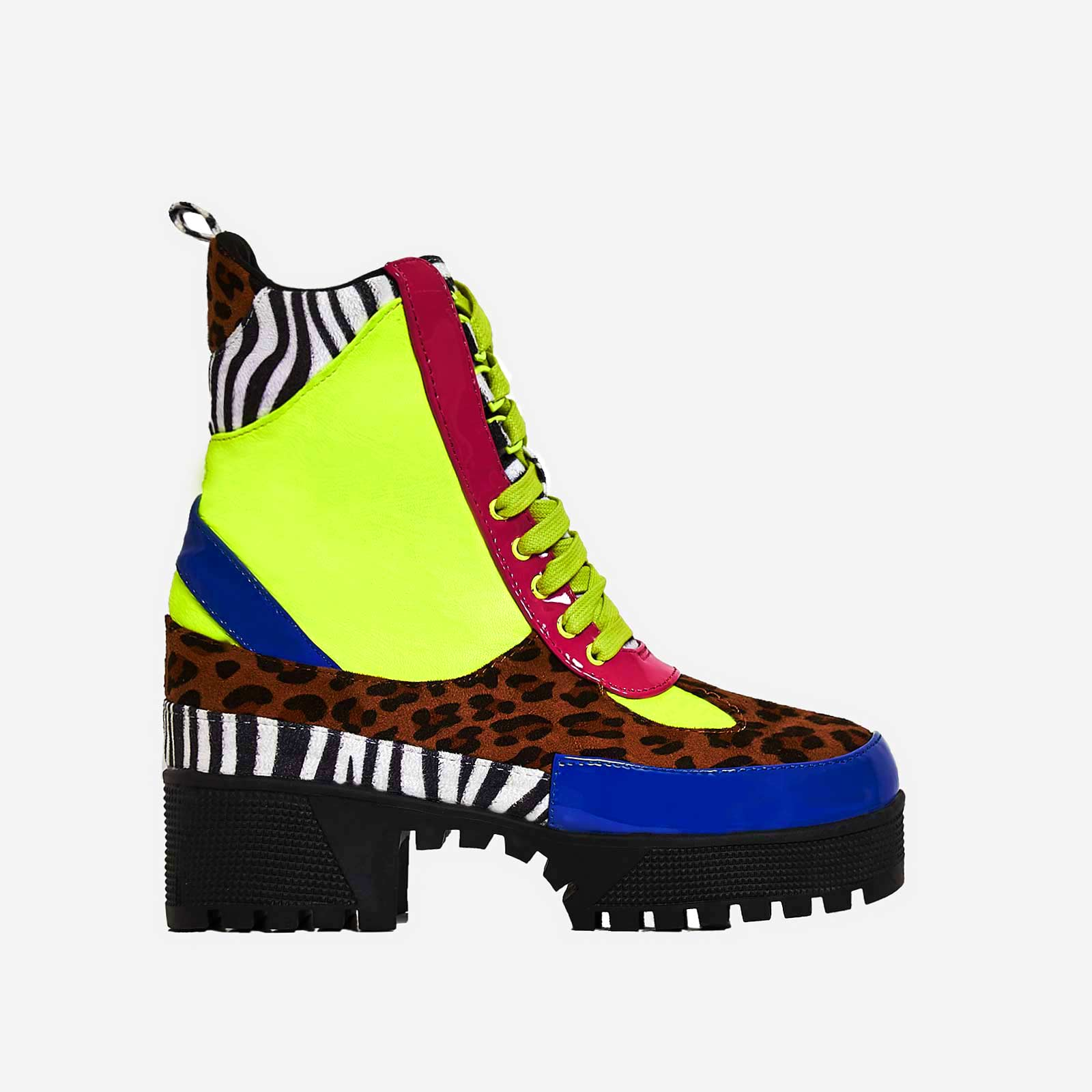 Commander Chunky Sole Lace Up Ankle Boot In Multi