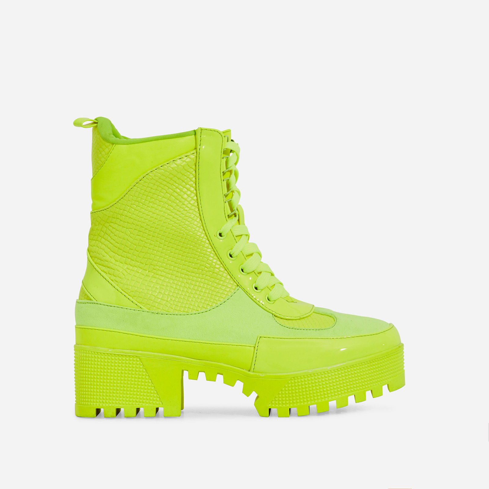 Commander Chunky Sole Lace Up Ankle Boot In Neon Lime Green Snake Print