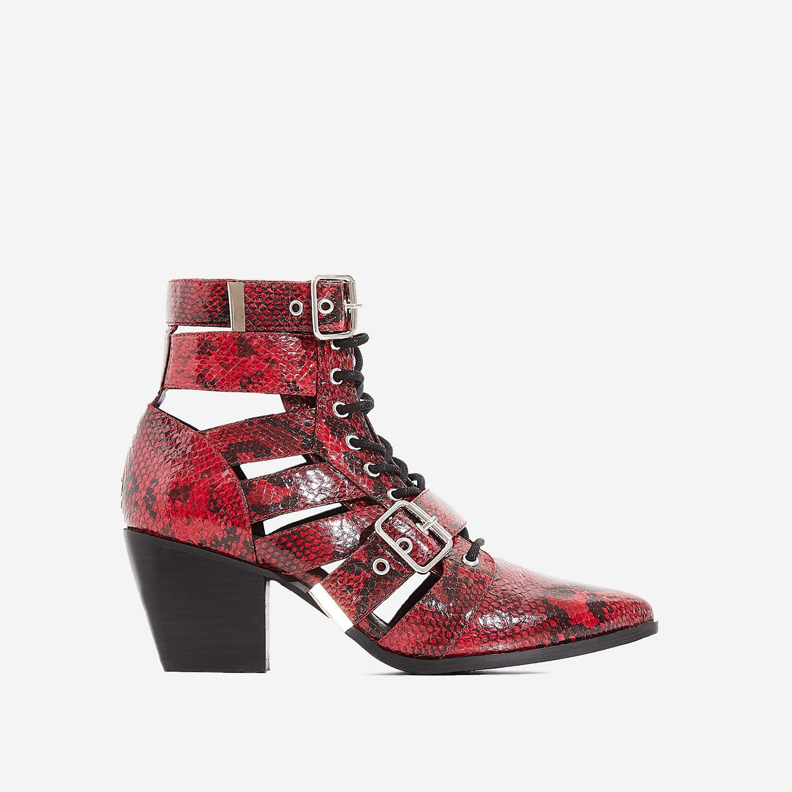 Cotto Cut Out Lace Up Ankle Western Boot In Red Snake Print Faux Leather