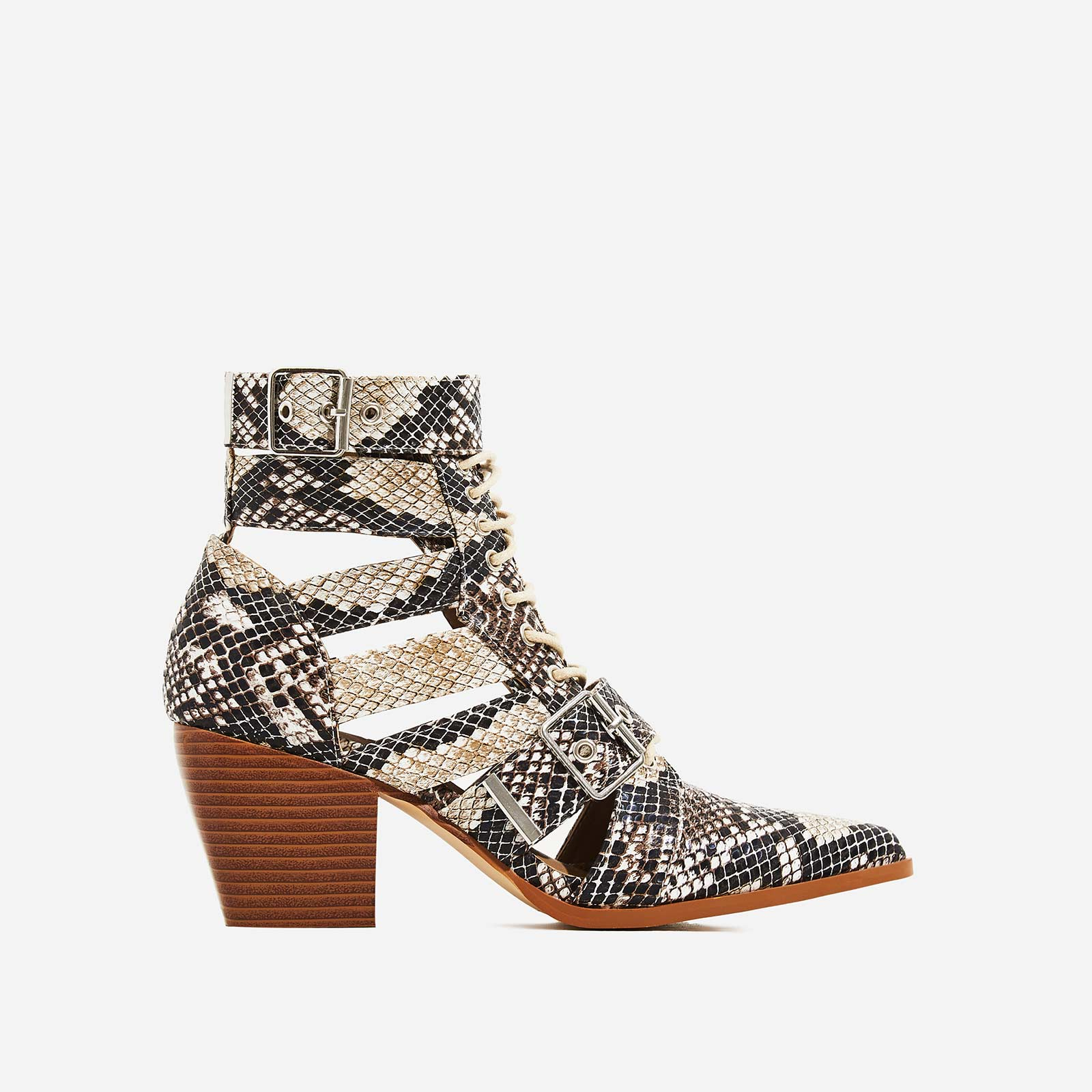 Cotto Cut Out Lace Up Ankle Western Boot In Snake Print Faux Leather