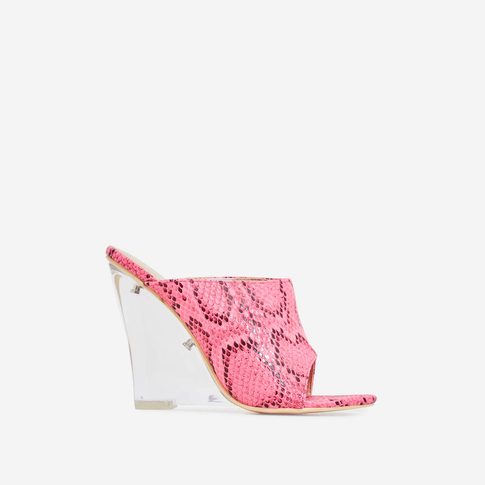 Candy Perspex Wedge Mule In Fuchsia Snake Print Faux Leather