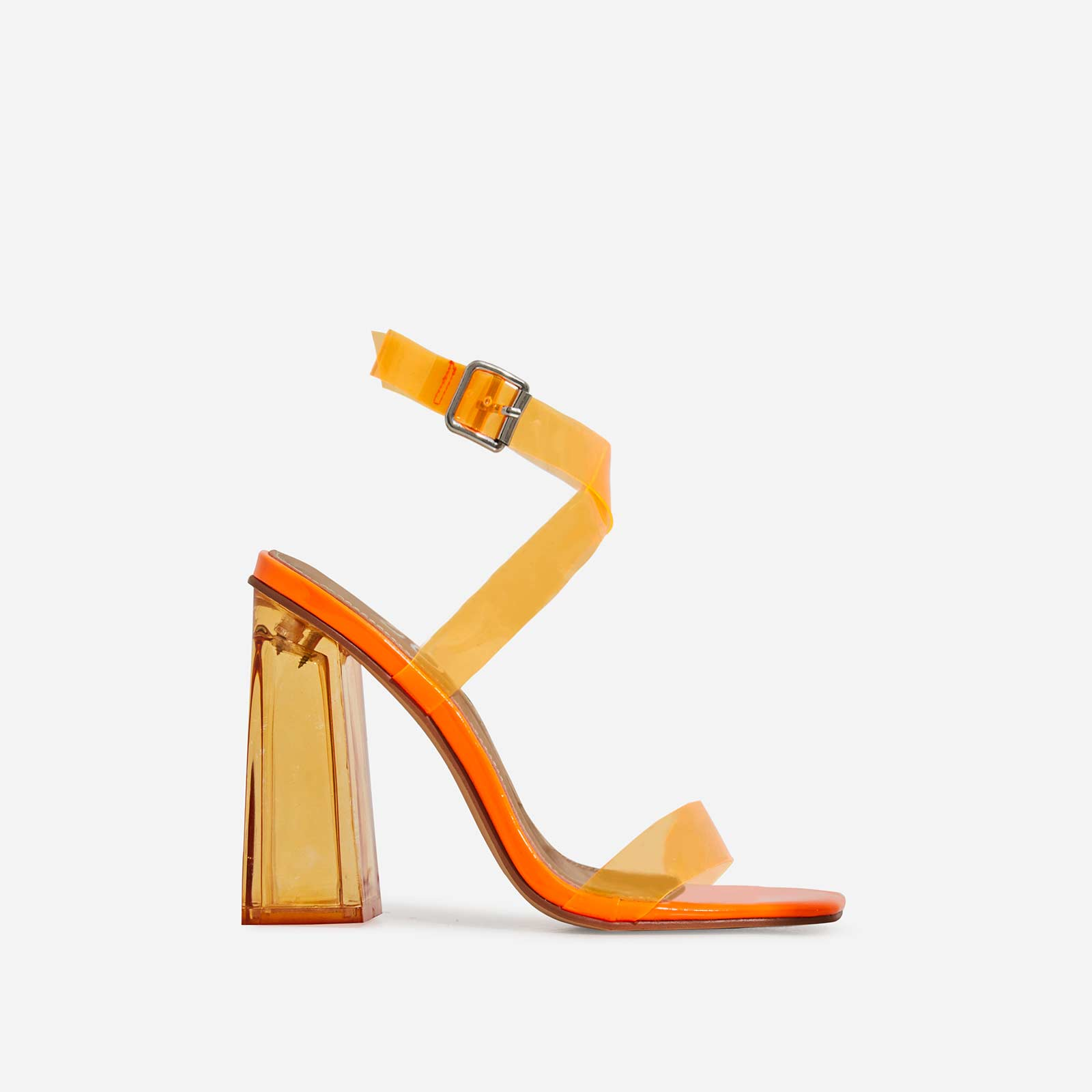 Saint Square Toe Perspex Flared Block Heel In Orange Patent