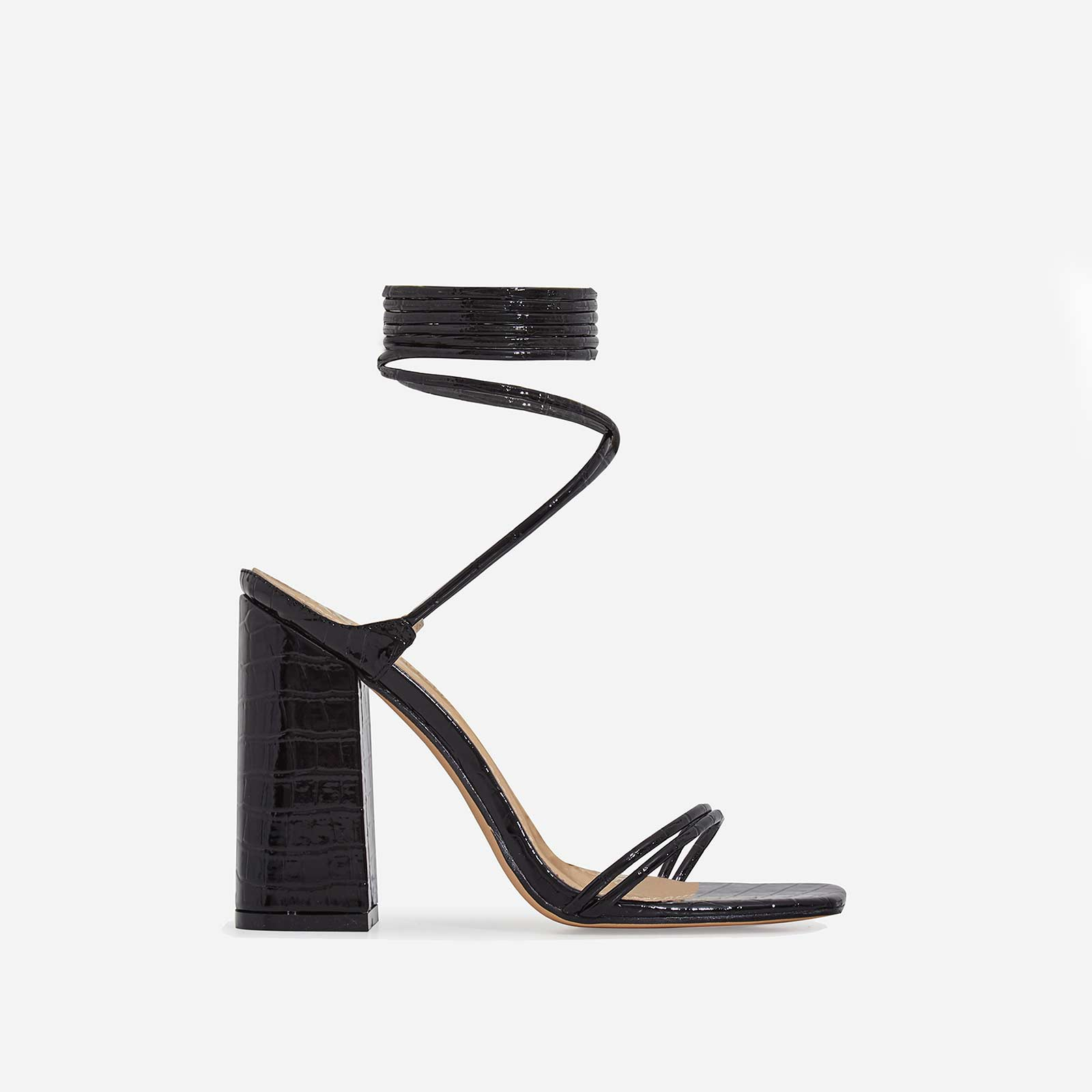 Leigh Lace Up Square Toe Block Heel In Black Croc Print Patent