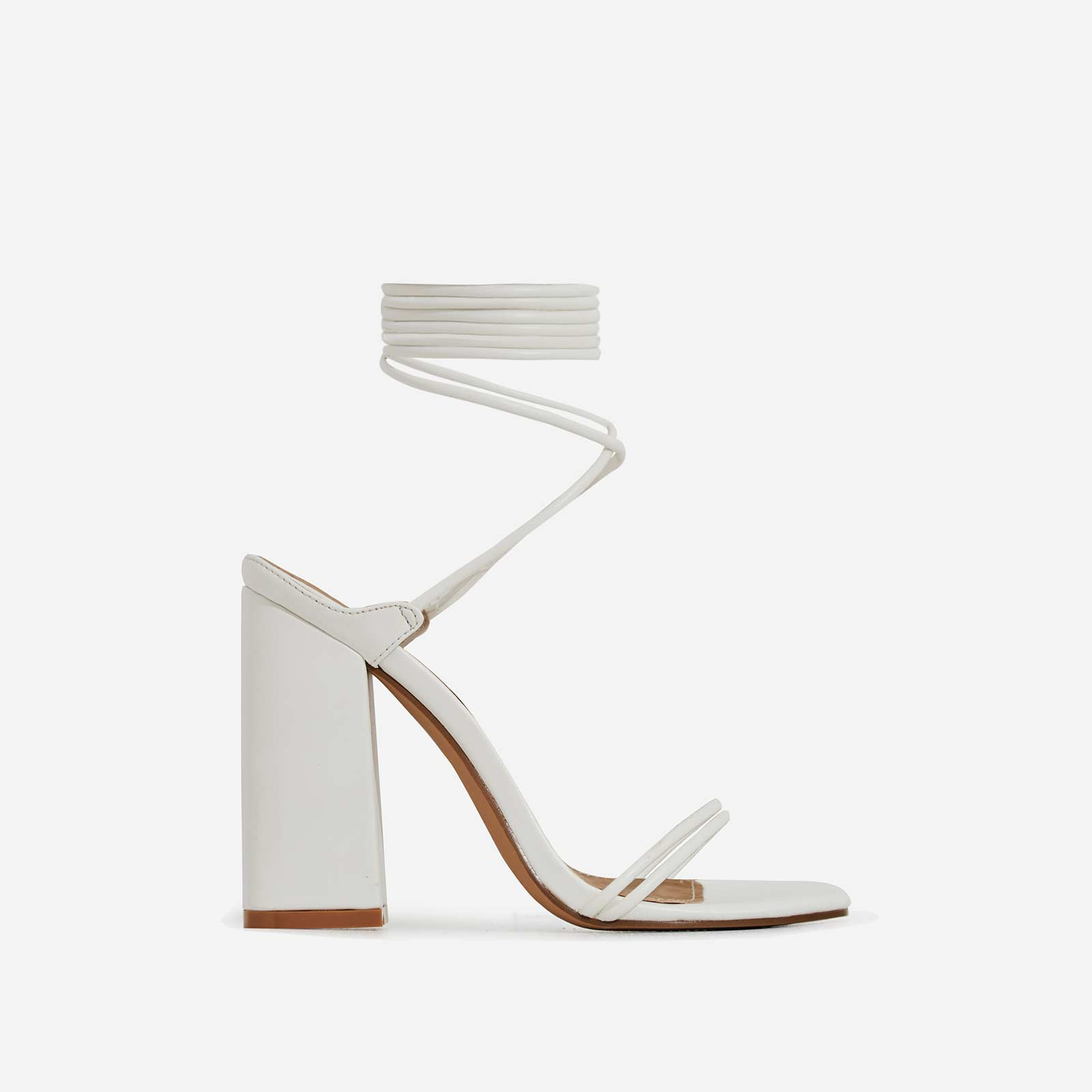 Leigh Lace Up Square Toe Block Heel In White Faux Leather