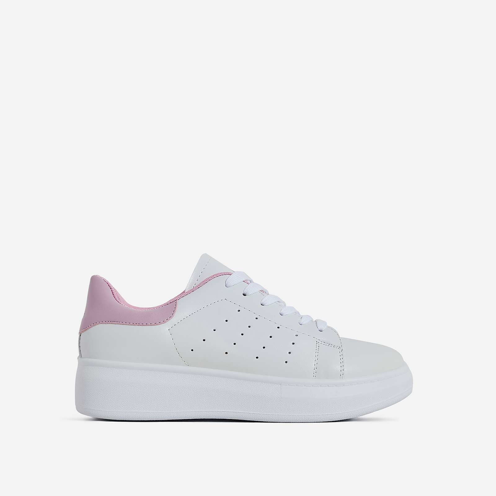 Fade Lace Up Pink Heel Tab Trainer In White