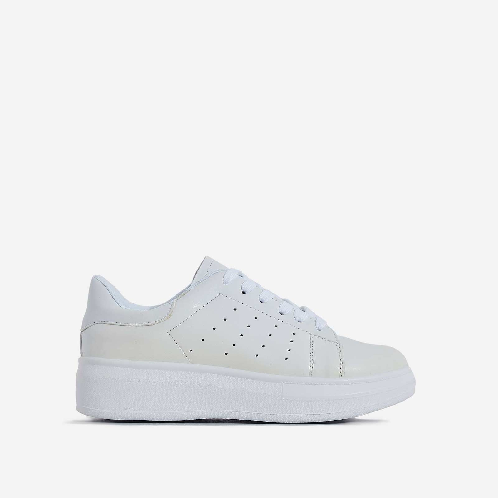 Fade Lace Up Trainer In White