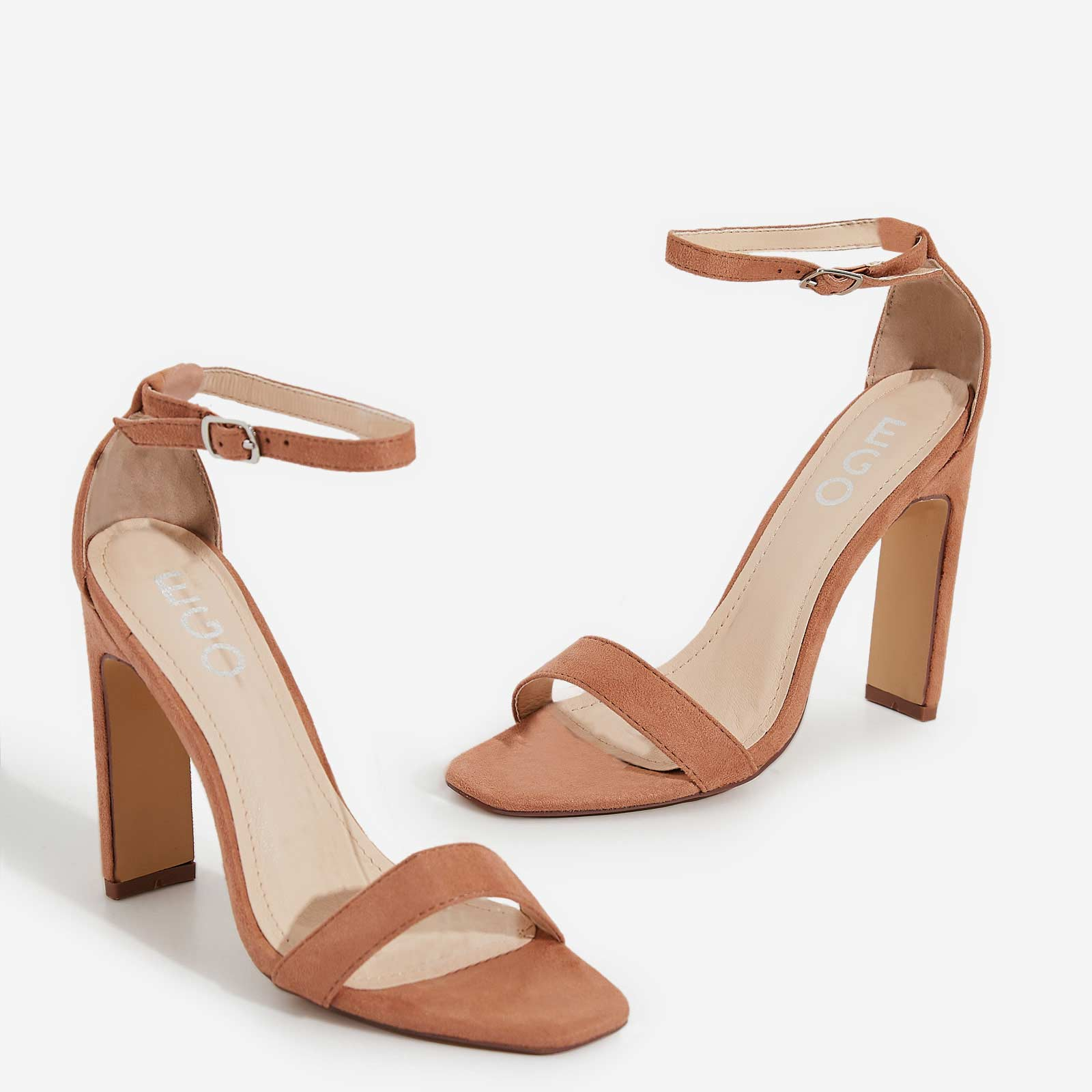 Crown Barely There Thin Block Heel In Nude Faux Suede