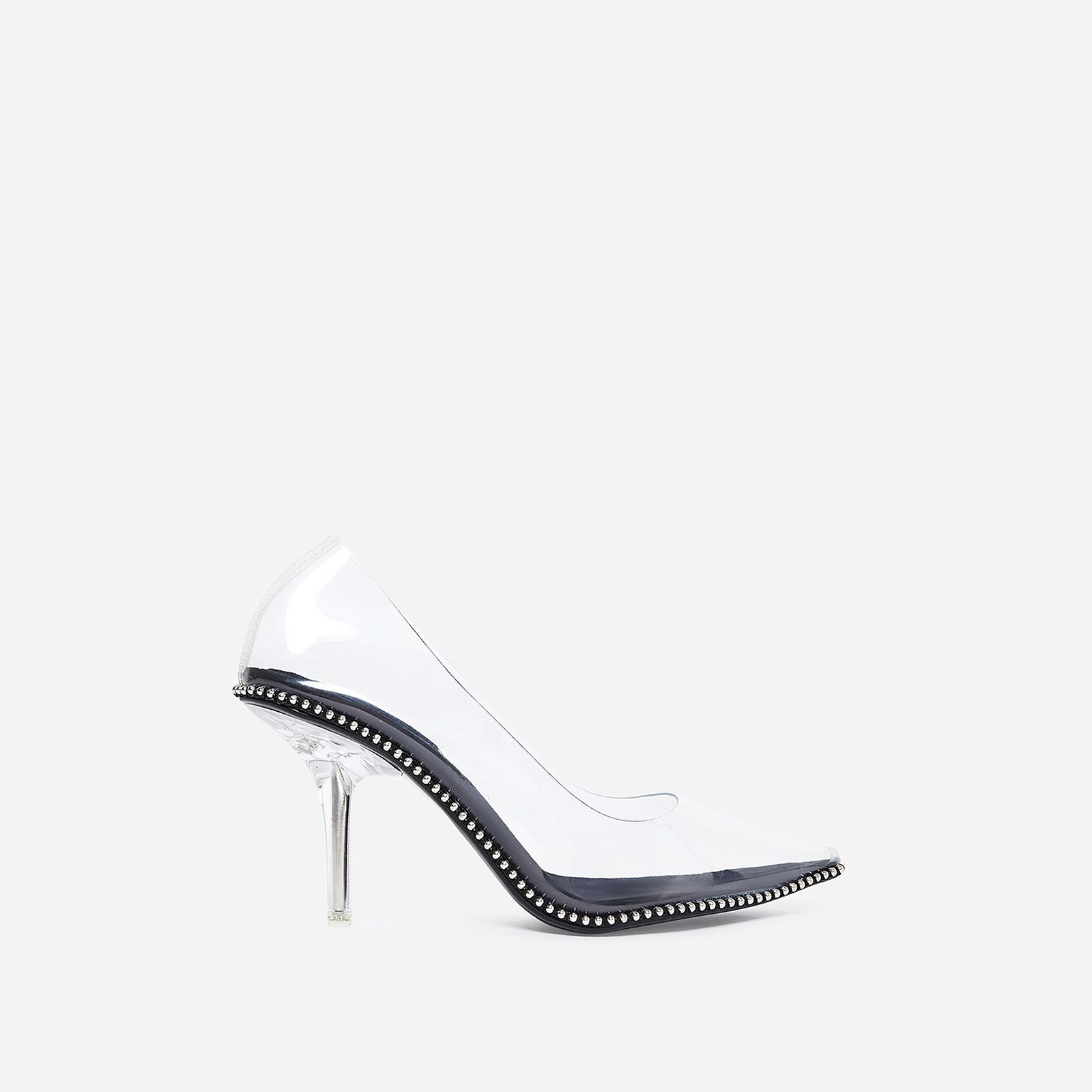 Crushing Studded Detail Perspex Court Heel In Black Faux Suede
