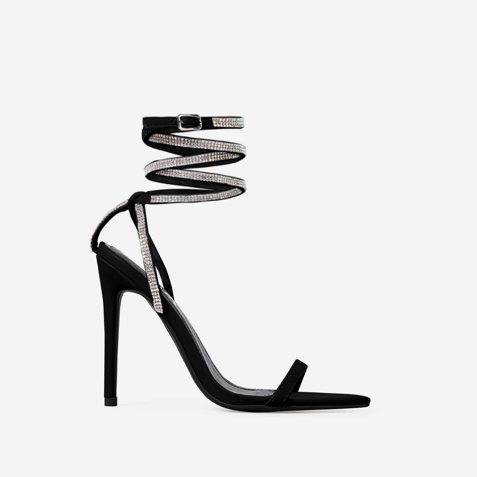 Crystal Diamante Lace Up Heel In Black Faux Leather