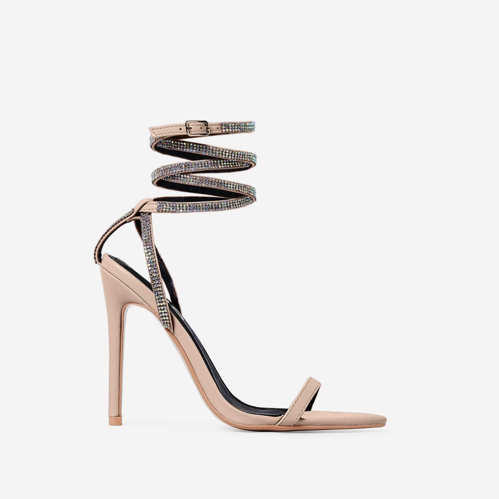 Crystal Diamante Lace Up Heel In Nude Faux Leather