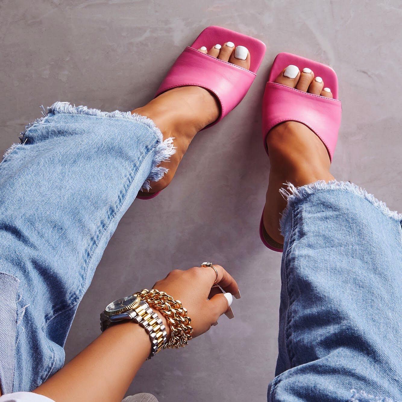 Hilton Square Peep Toe Kitten Heel Mule In Pink Faux Leather