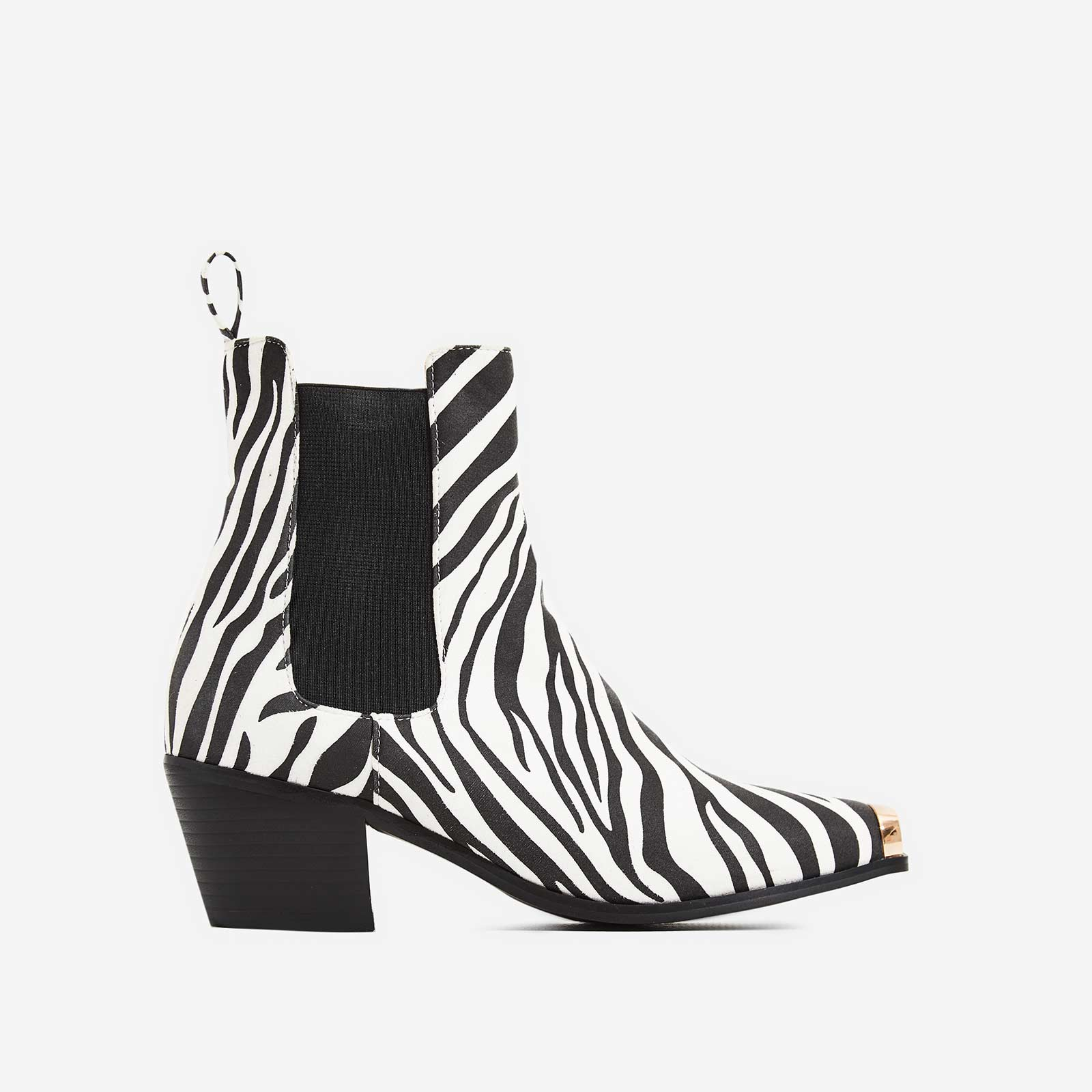 Darcy Toe Cap Western Ankle Boot In Zebra Print Faux Suede