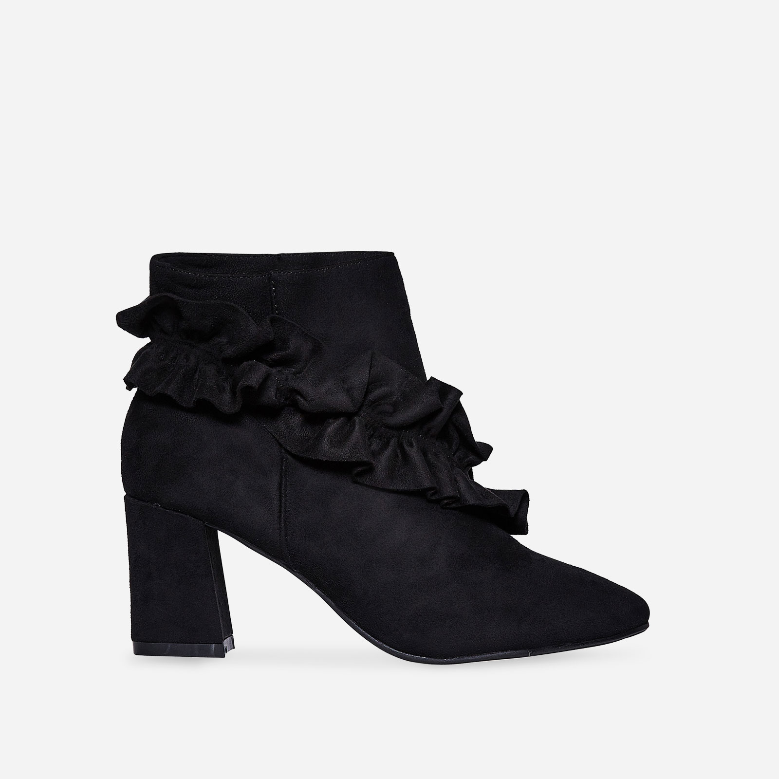 Daria Frill Detail Ankle Boot In Black Faux Suede