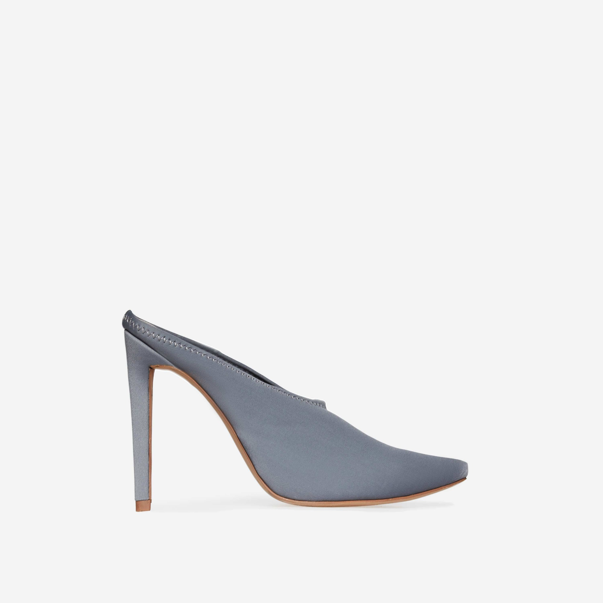 Darla Closed Toe Mule Heel In Grey Lycra