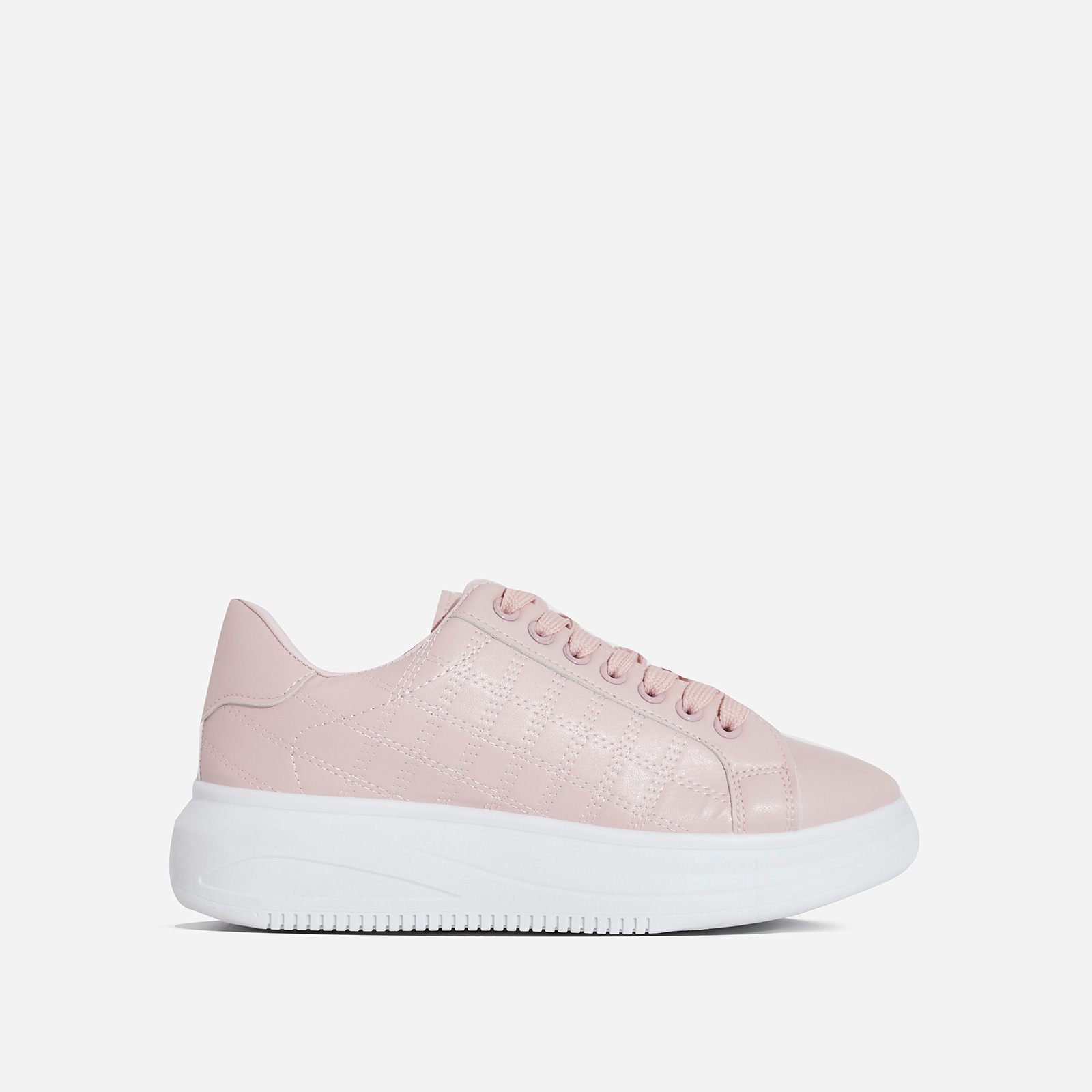 Avi Stitch Detail Chunky Sole Trainer In Pink Faux Leather